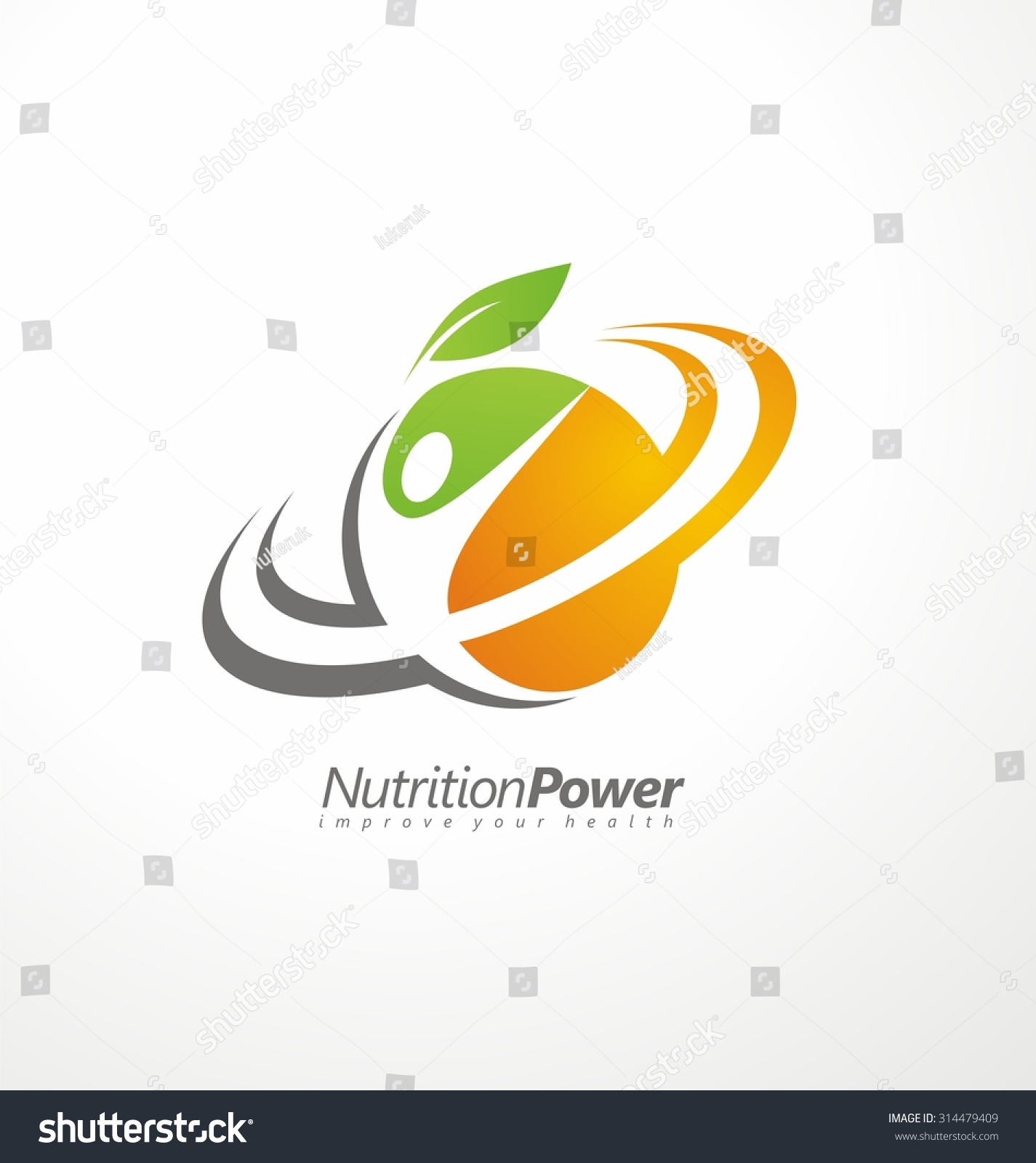 organic health food creative symbol layout nutrition and diet logo design idea fruit and organic - Design Idea
