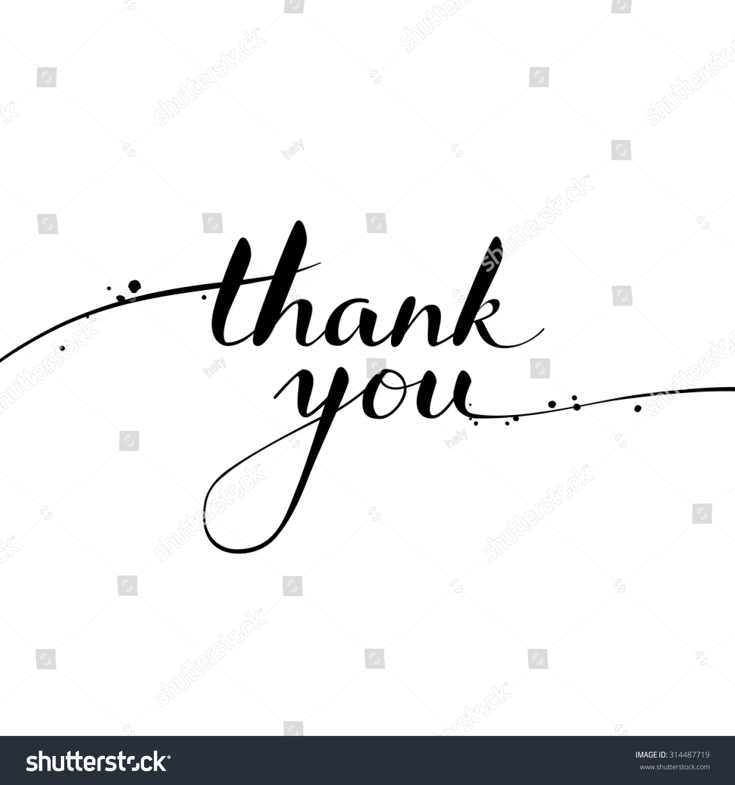 Thank you calligraphy brush painted letters stock vector Thank you in calligraphy writing