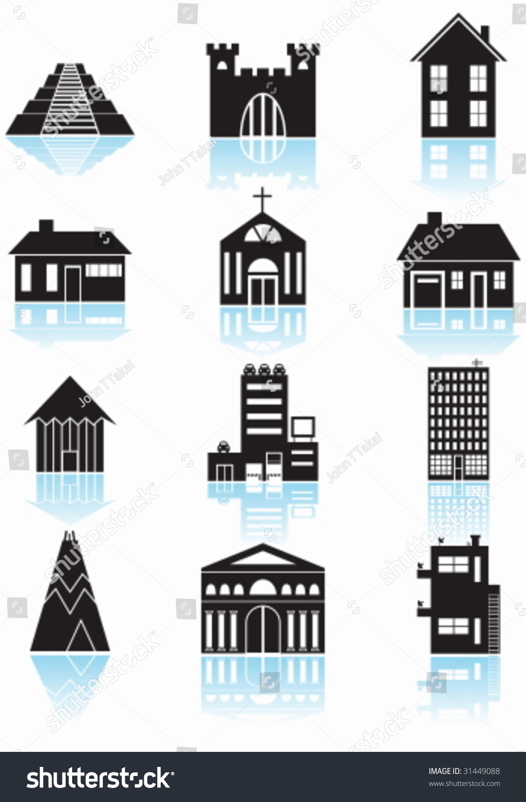 World travel structures black set wide stock vector for Basic architectural styles