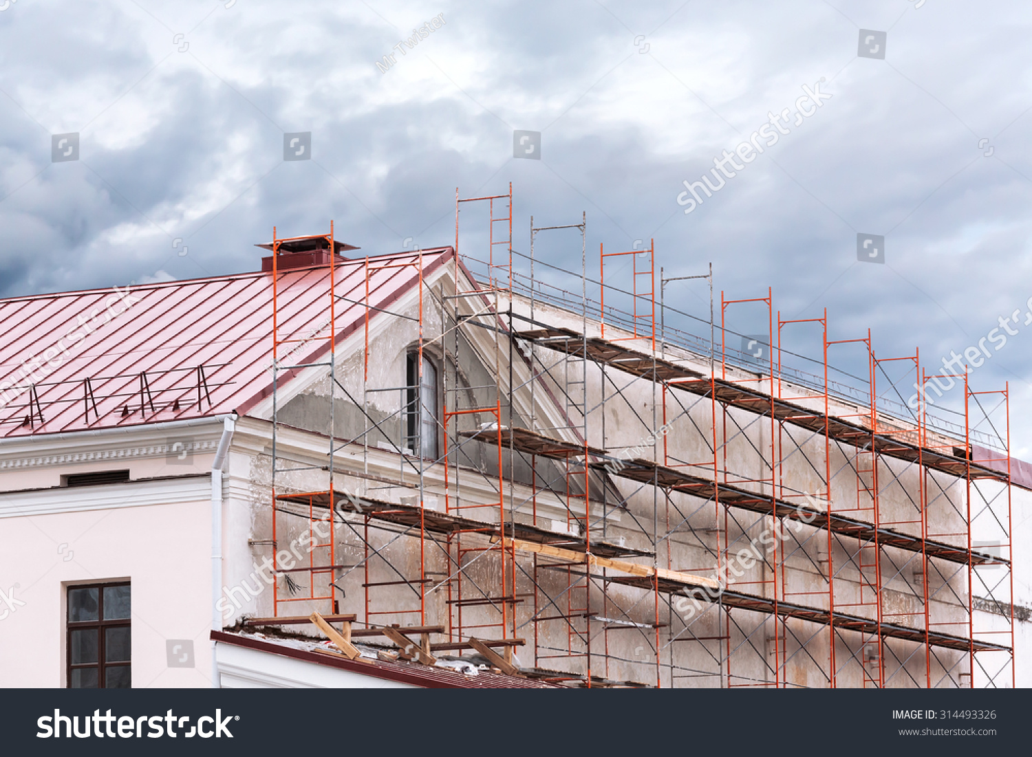 Scaffold Surrounding Old Building During Renovation Stock Photo 314493326 Shutterstock