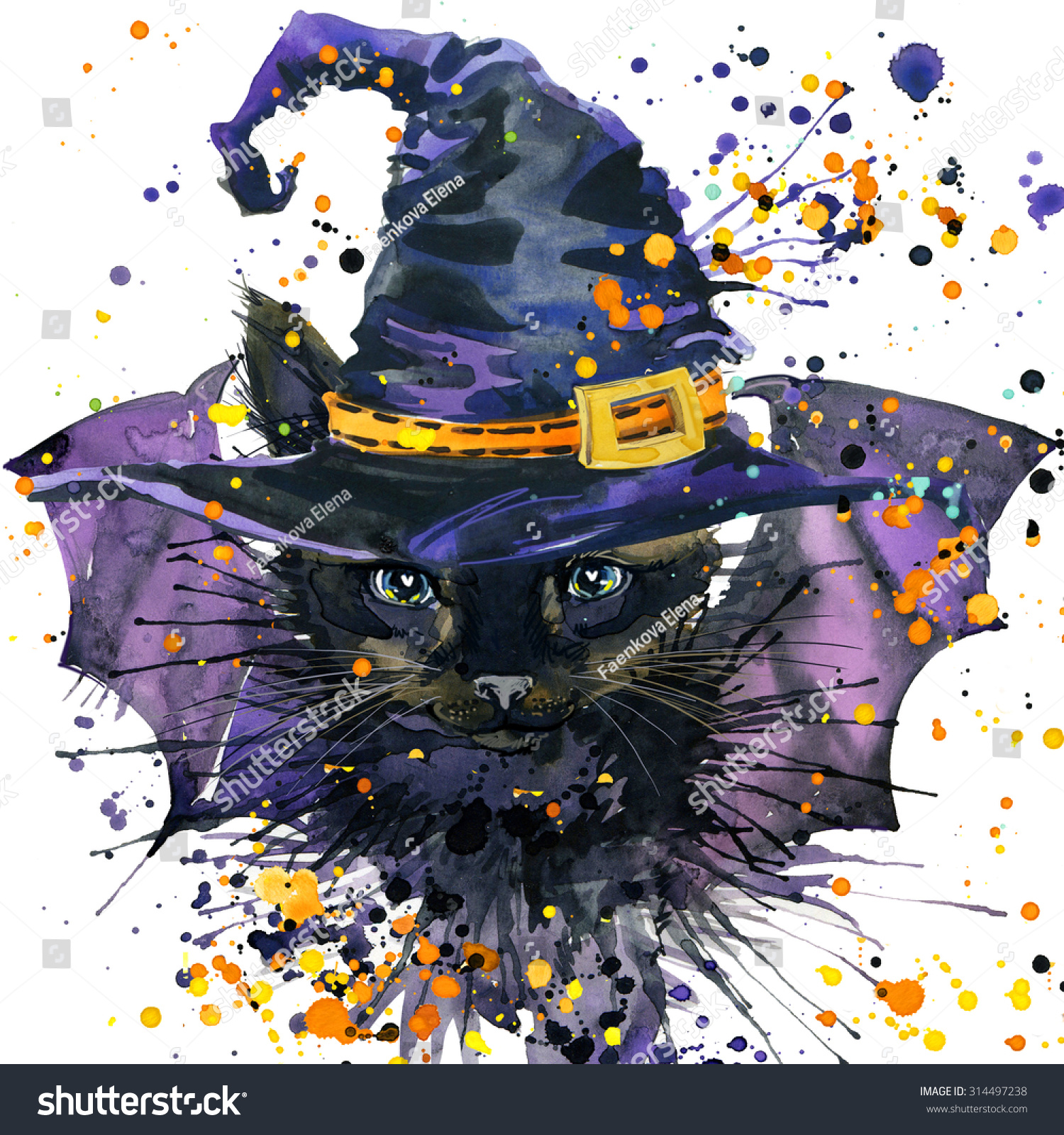 Halloween Cat And A Witch Hat Watercolor Illustration Background For The Holiday
