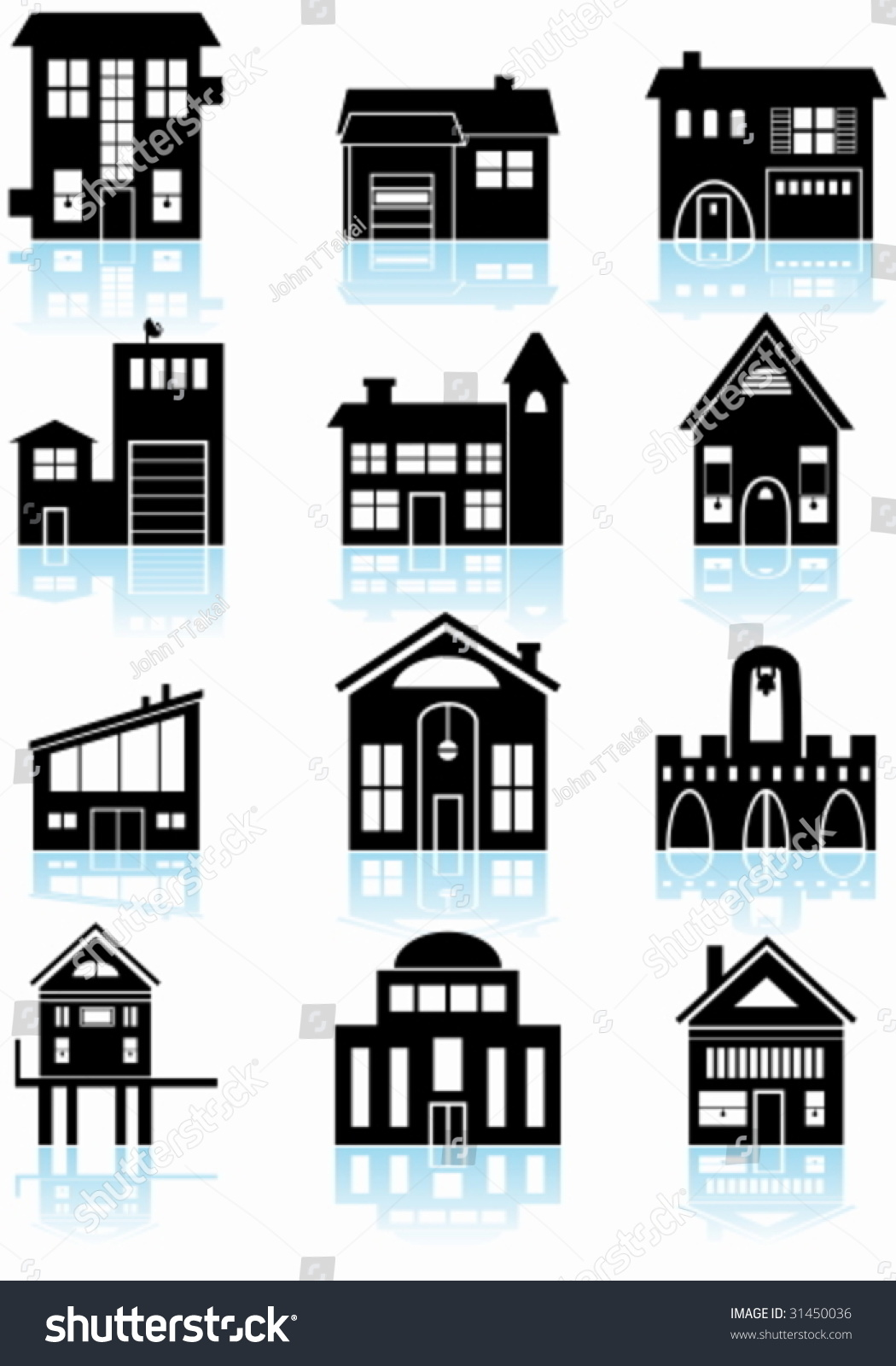 Various Structures Black Set Wide Range Stock Vector Royalty Free