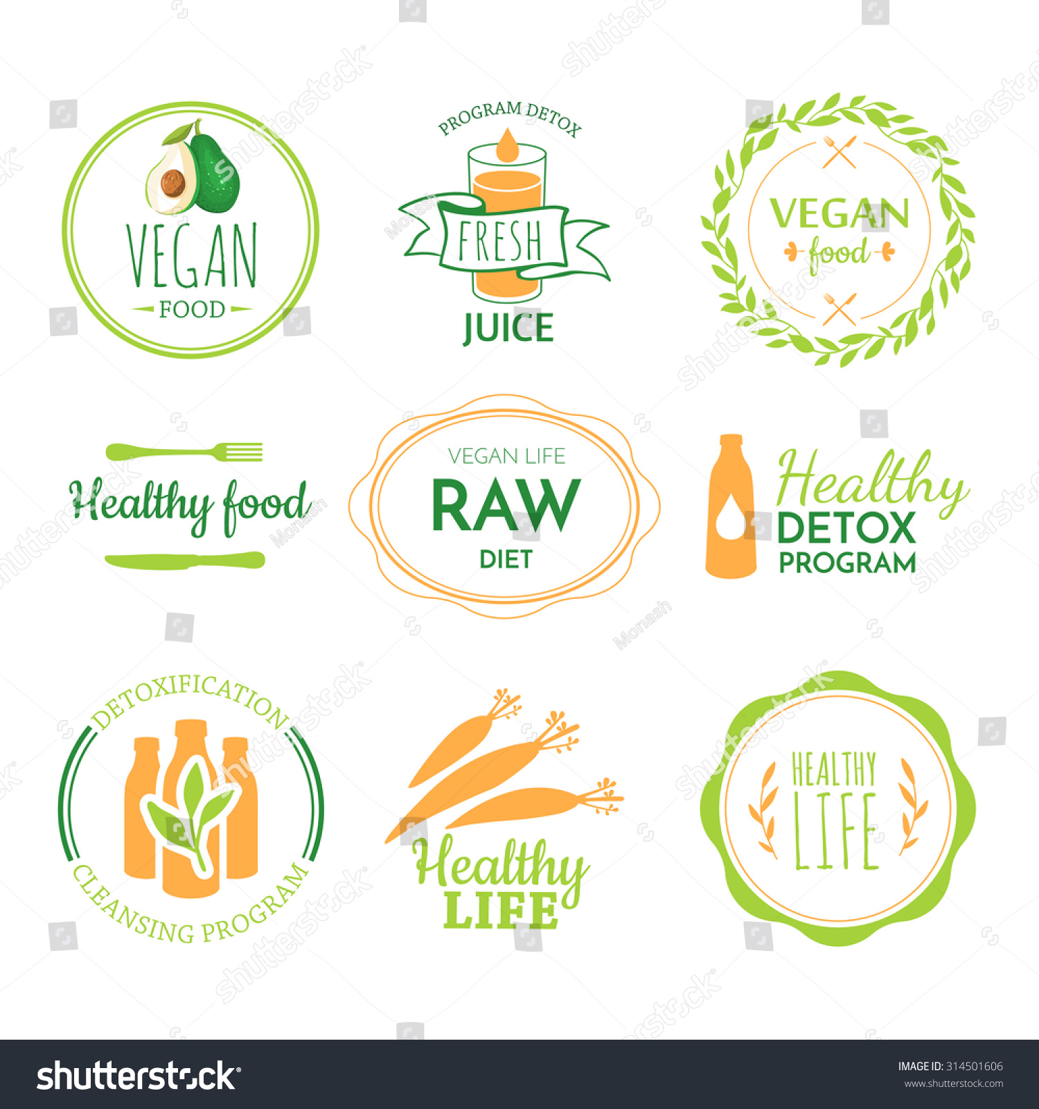 Detox Logo Vegetarian Useful Meal Raw Stock Vector ...