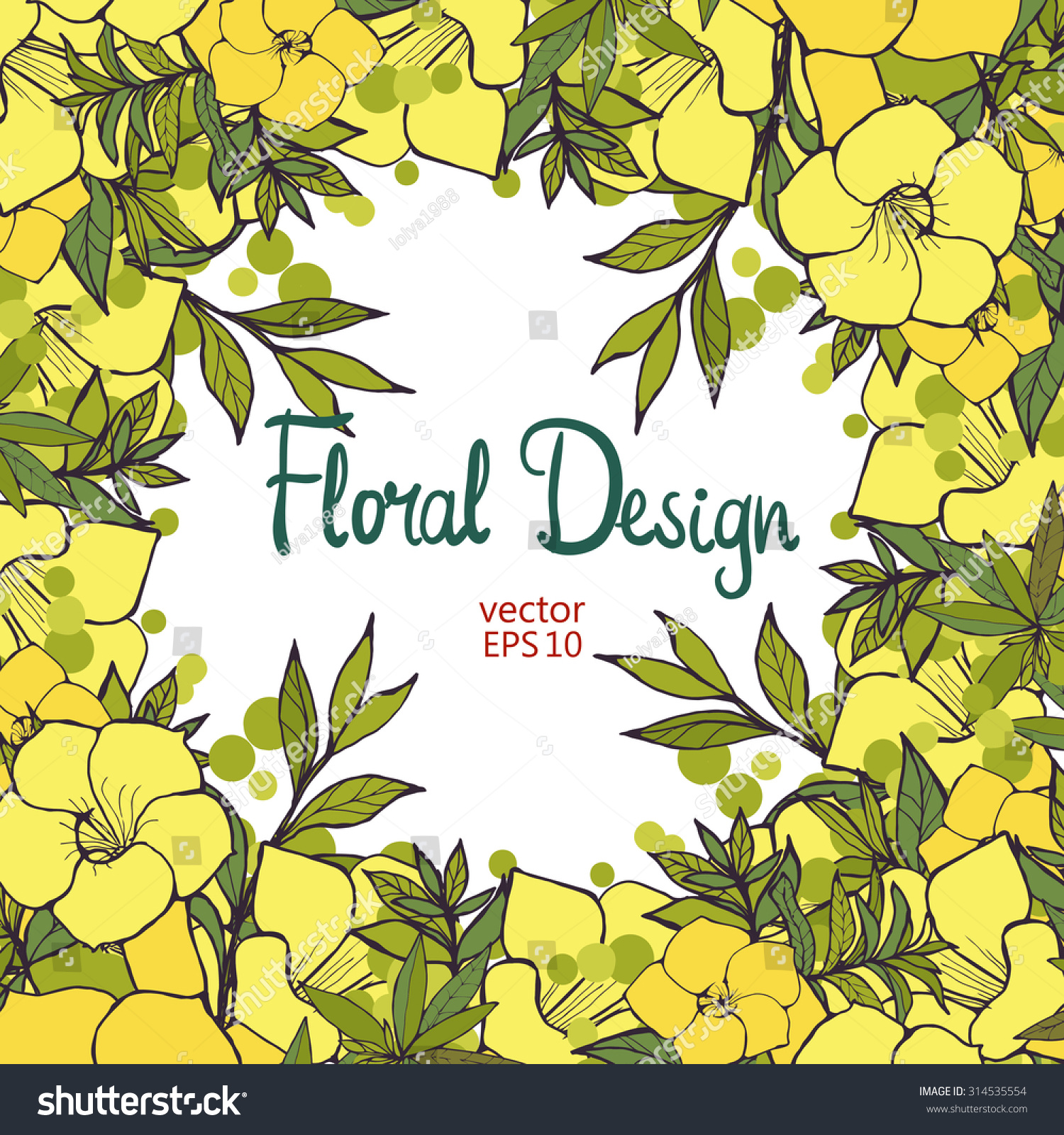 Floral Frame Made Exotic Yellow Flowers Stock Vector Royalty Free