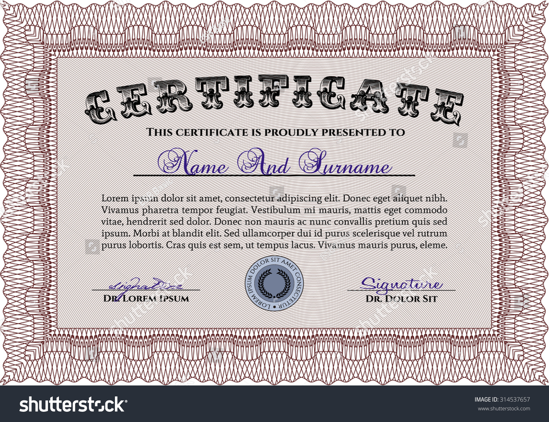 Nice certificate achievement template ornament examples certificate achievement template modern design complex stock vector yelopaper Choice Image