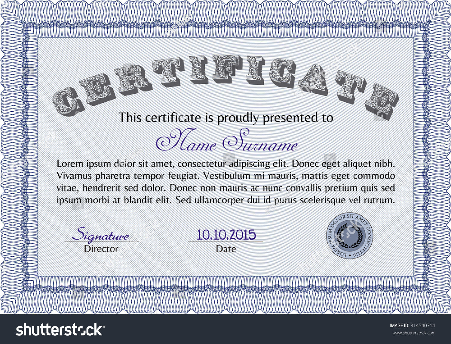 Diploma certificate template easy print diploma stock vector 2018 diploma or certificate template easy to print diploma of completionperior design yadclub Images