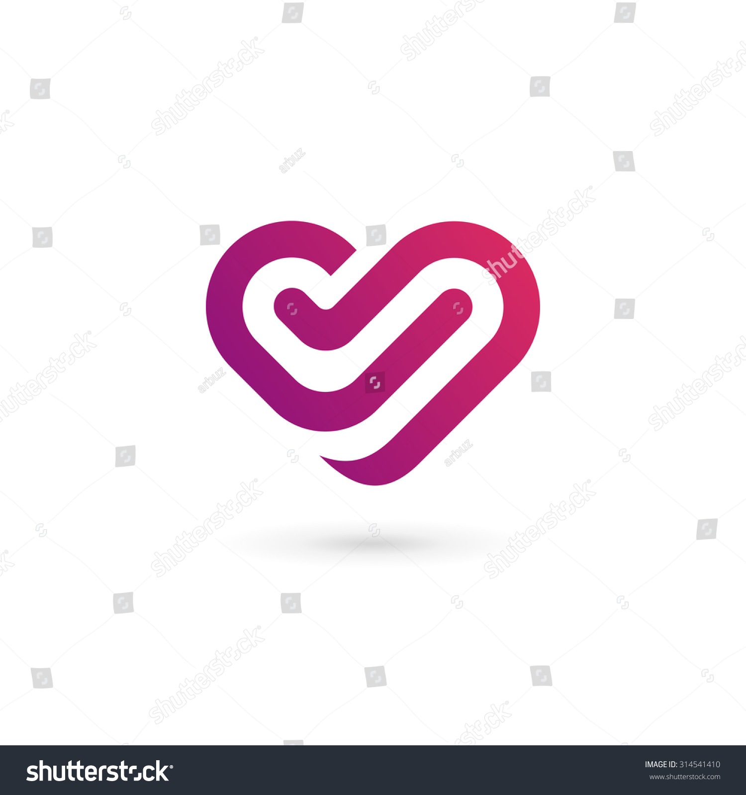 Letter V Heart Symbol Logo Icon Stock Vector Royalty Free