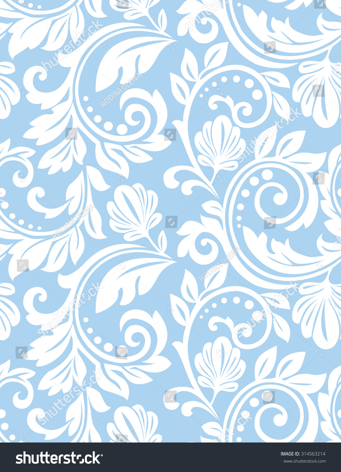 wallpaper baroque damask seamless vector background blue and white ornament