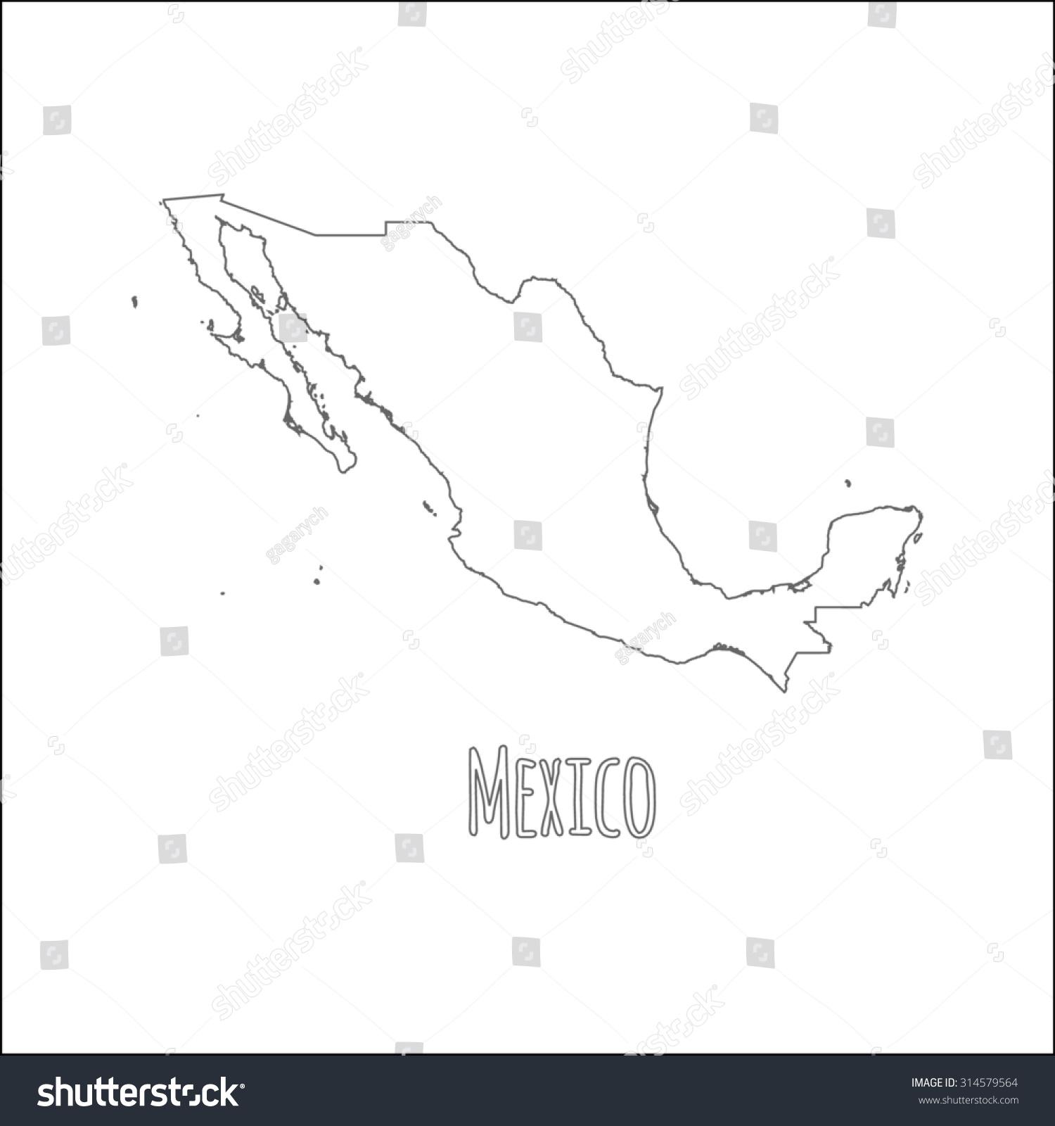 outline vector map mexico simple mexico stock vector 314579564