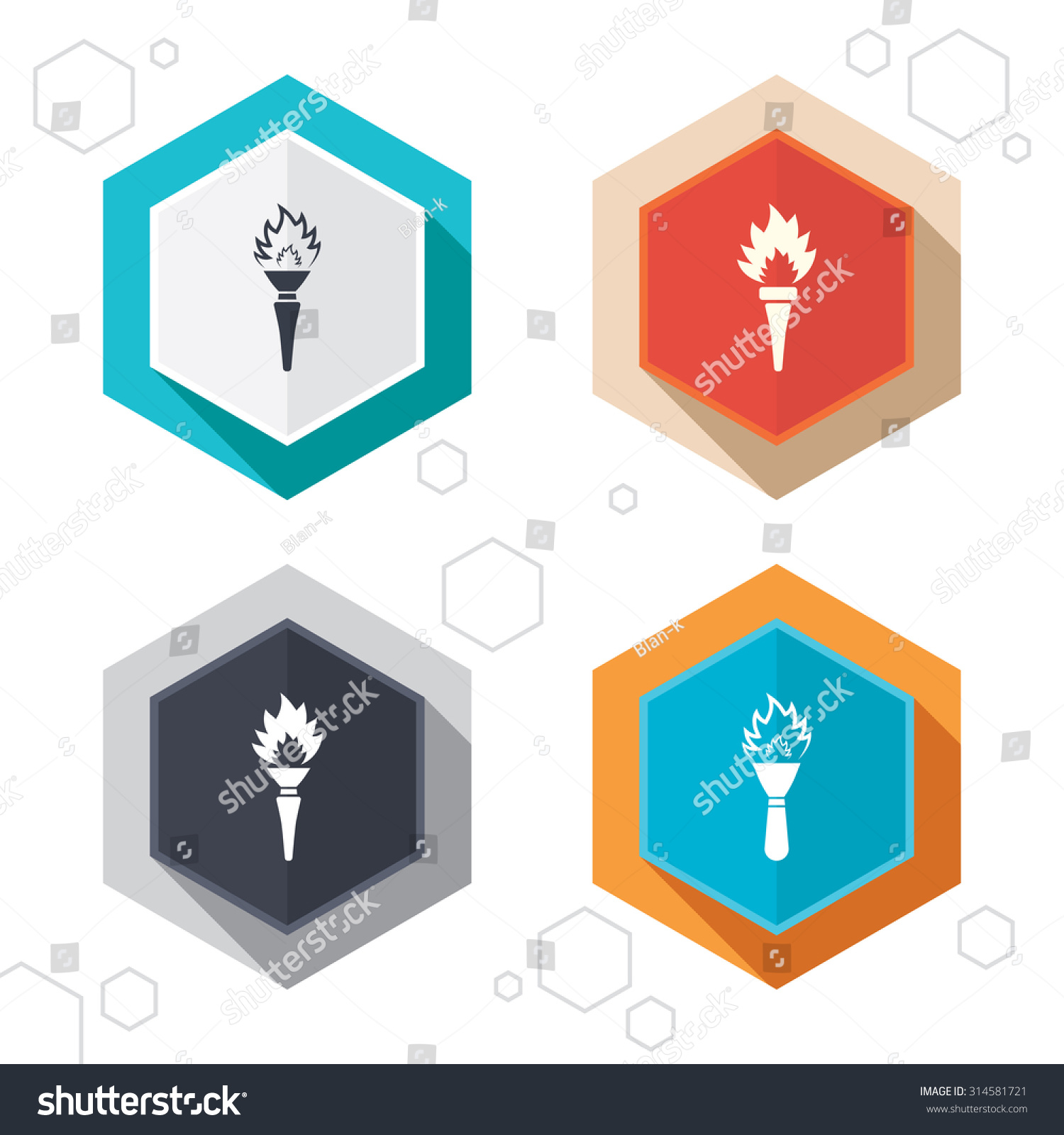 Torch flame icons. Fire flaming symbols. Hand tool which provides light  sc 1 st  Shutterstock & Hexagon Buttons Torch Flame Icons Fire Stock Vector 314581721 ... azcodes.com
