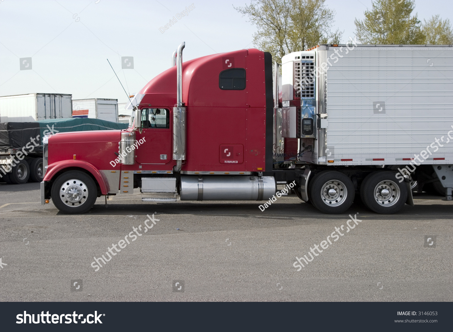 Tractor Trailer Stock : Tractor trailer refrigerated stock photo