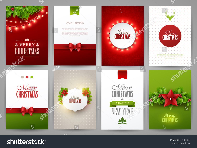 Set Christmas Brochures Templates Bright Vector Stock Vector