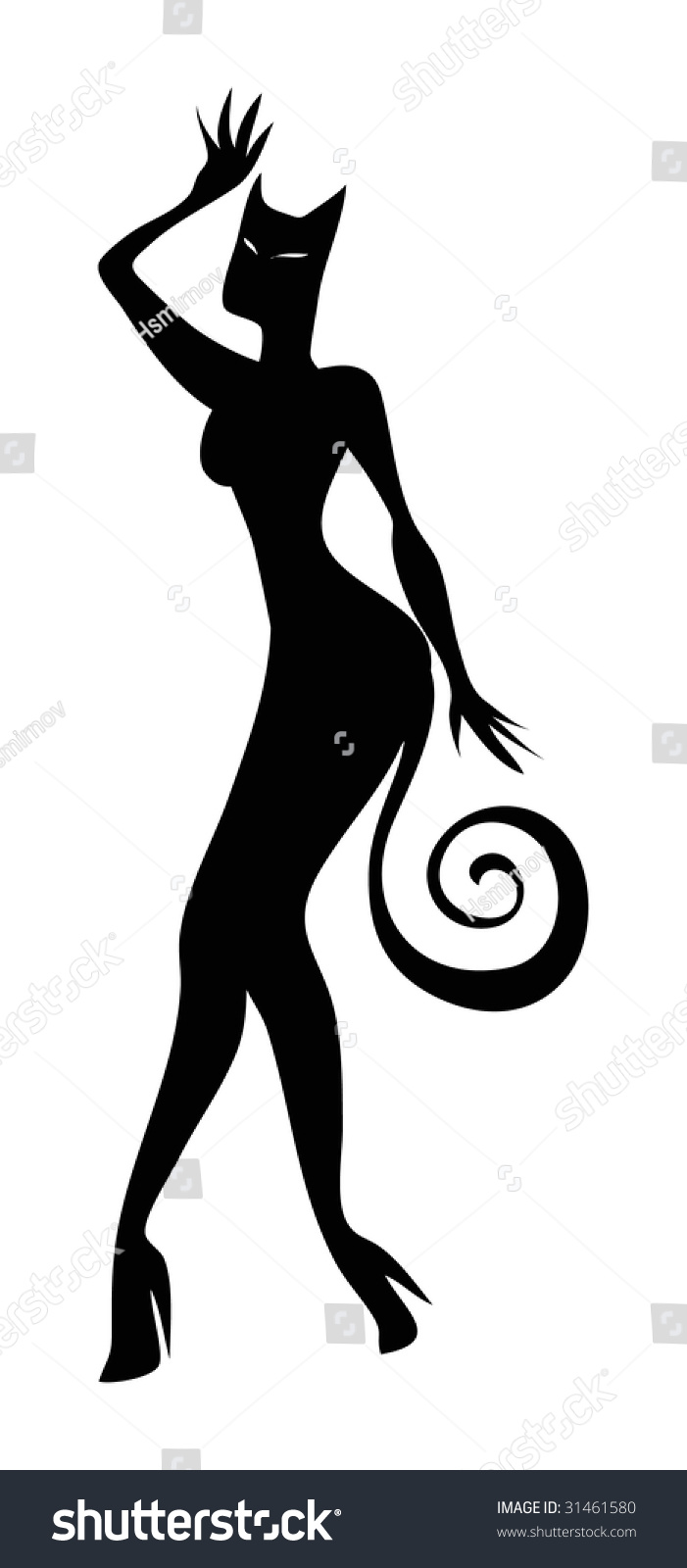illustrated silhouette of a sexy cat woman
