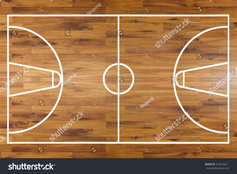Basketball half court top view