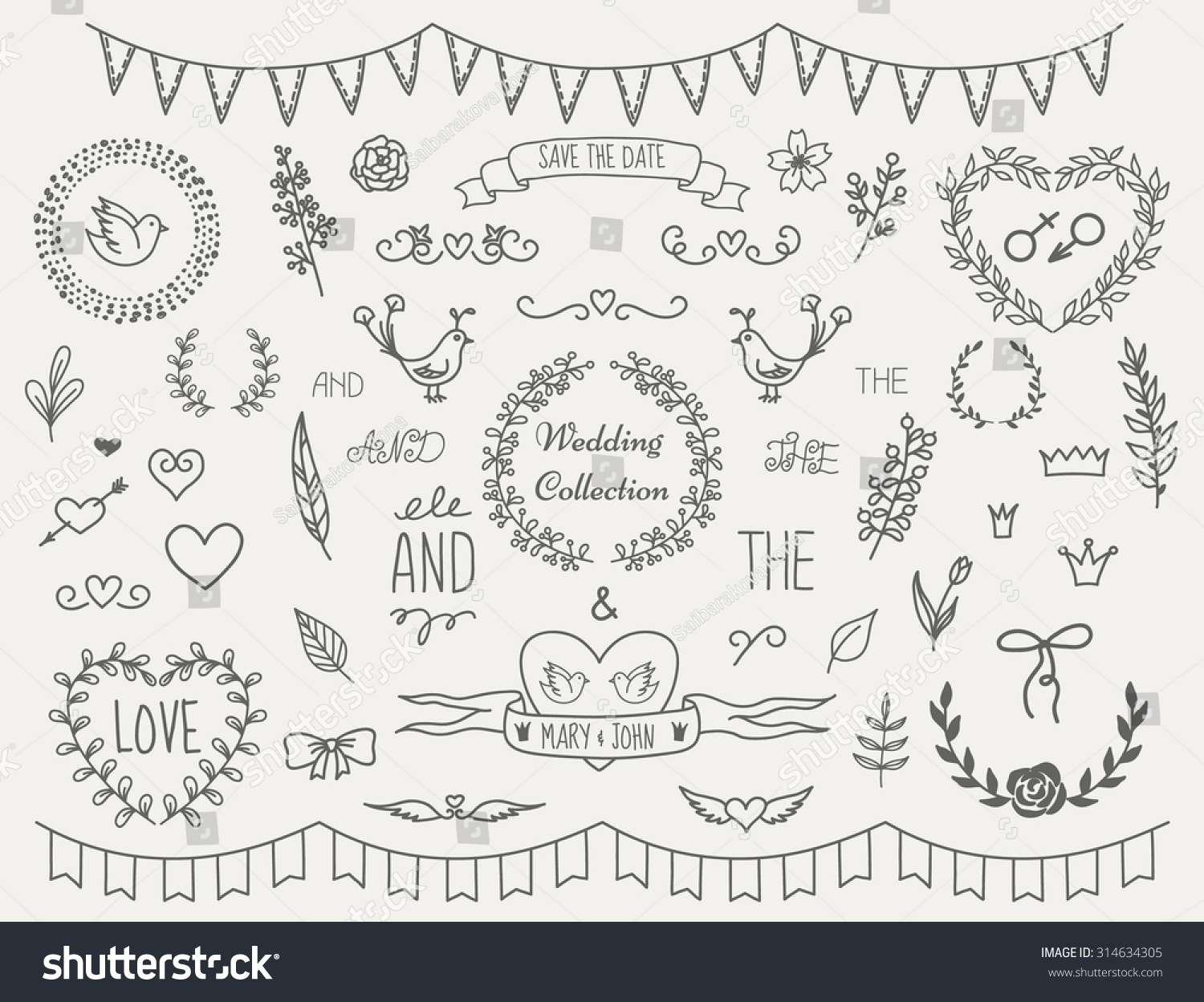 Set vintage hand drawn decoration elements stock vector 314634305 set of vintage hand drawn decoration elements for wedding invitations doodle style vector eps10 junglespirit Image collections
