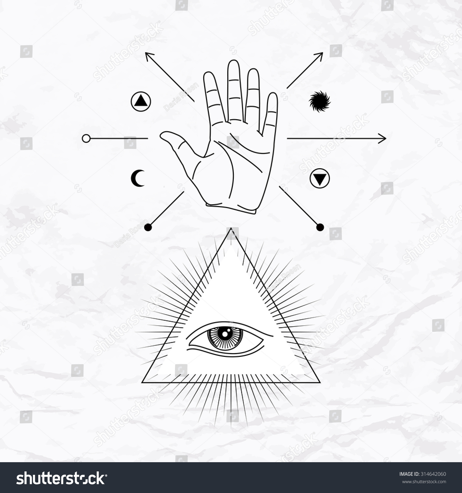Vector Geometric Alchemy Symbol Eye Pyramid Stock Vector Royalty