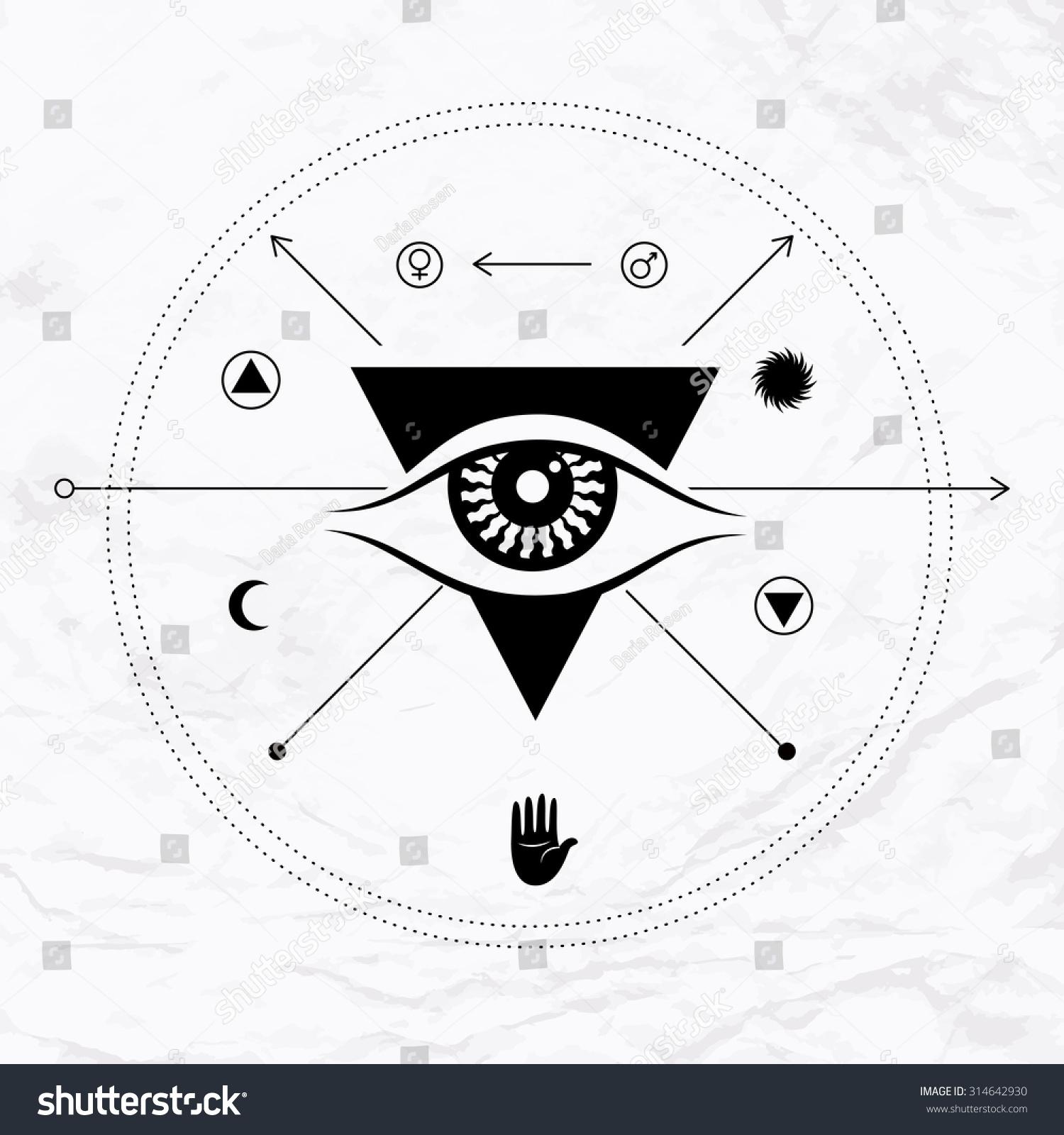Vector Geometric Alchemy Symbol Eye Sun Stock Vector Royalty Free