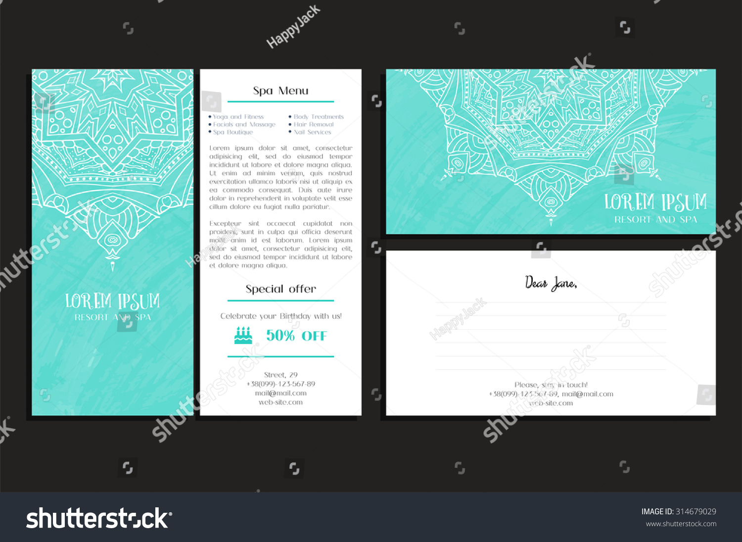 Set Corporate Business Brochure Greeting Card Stock Vector ...