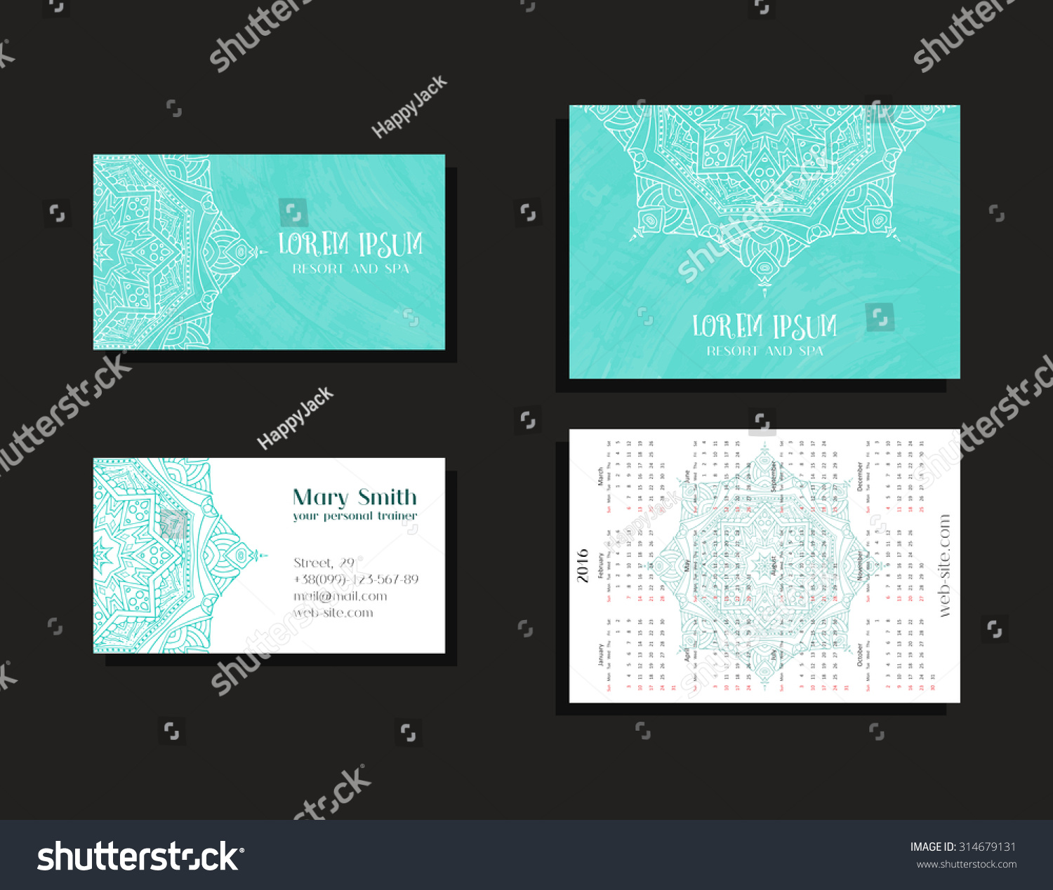 Set Corporate Business Cards Calendars 2016 Stock Vector 314679131 ...