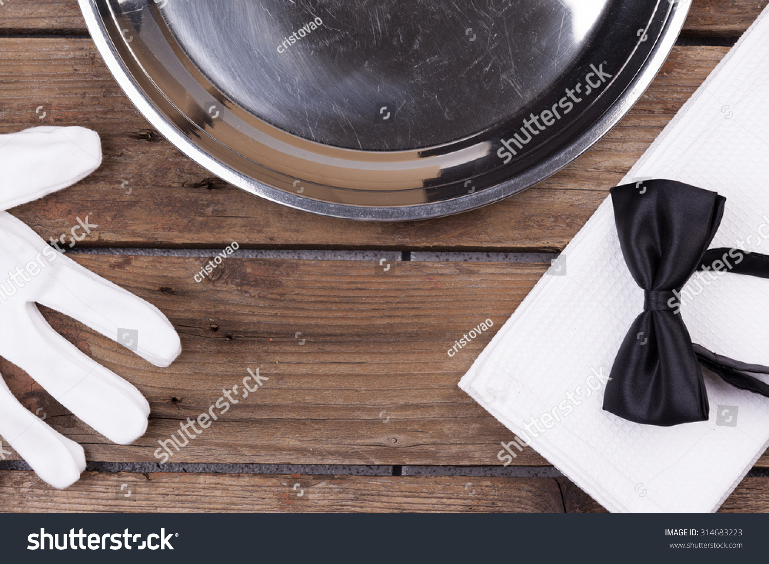 Top View Waiter Tray Bow Tie Stock Photo Edit Now 314683223