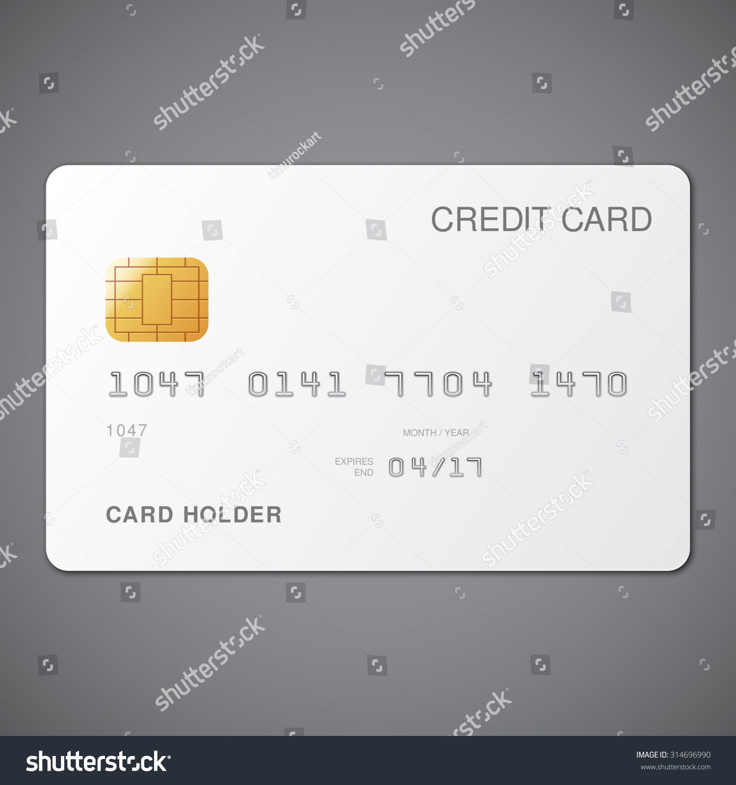 White Credit Card Template On Grey Stock Vector 314696990