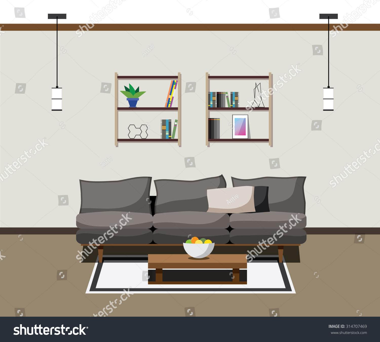Modern furniture living room - Interior Modern Furniture Living Room Lamp Sofa