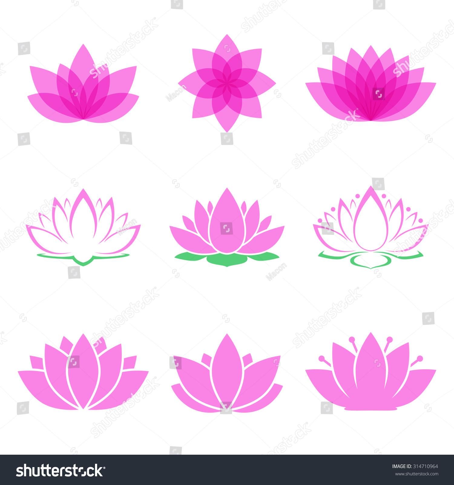 Royalty free lotus flower set lotus symbol or icon 314710964 lotus flower set lotus symbol or icon for spa salon yoga class or wellness izmirmasajfo