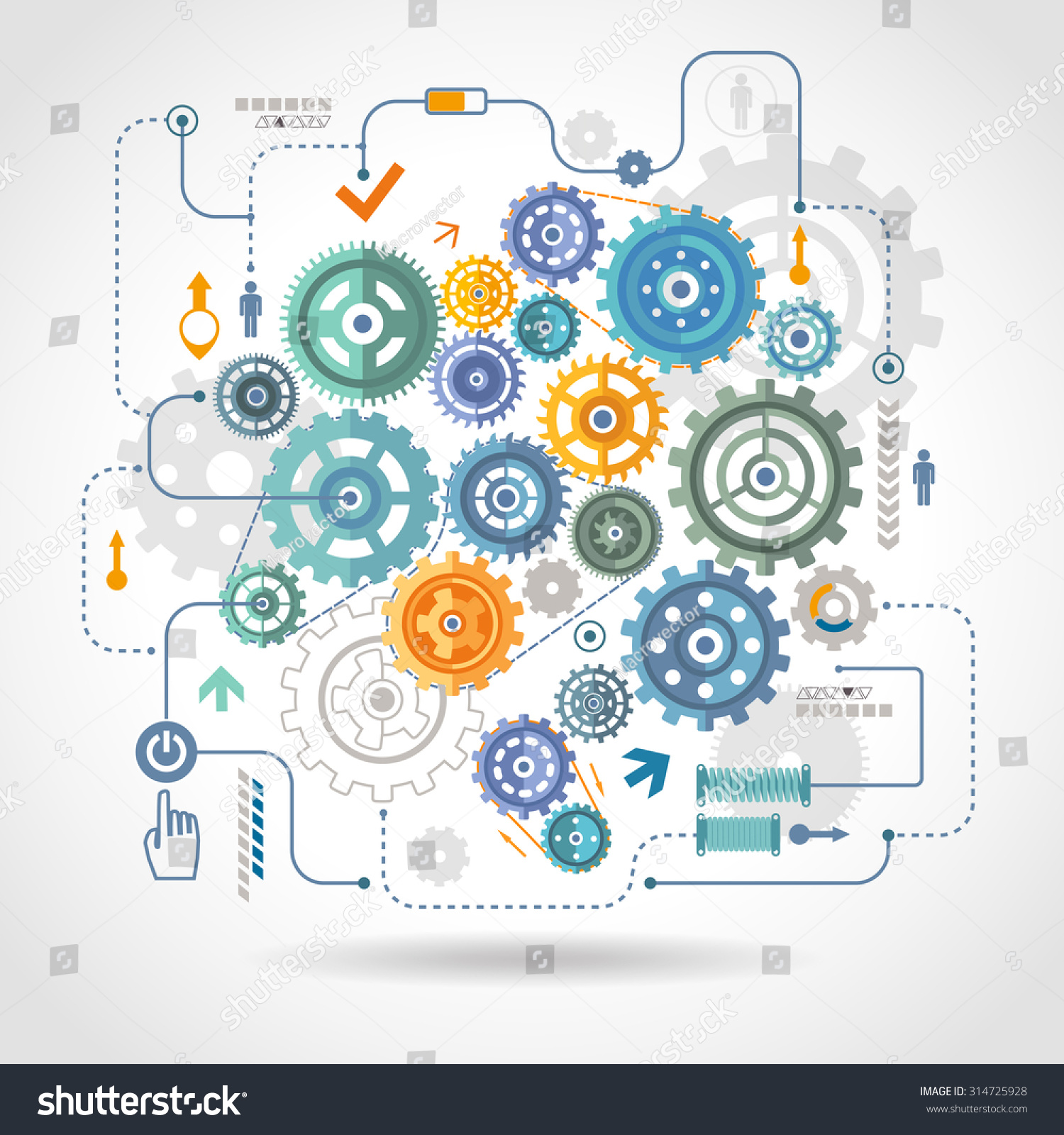 Cogwheels gear mechanical mechanism detail rotation work  schema with relay switch and start button abstract vector illustration