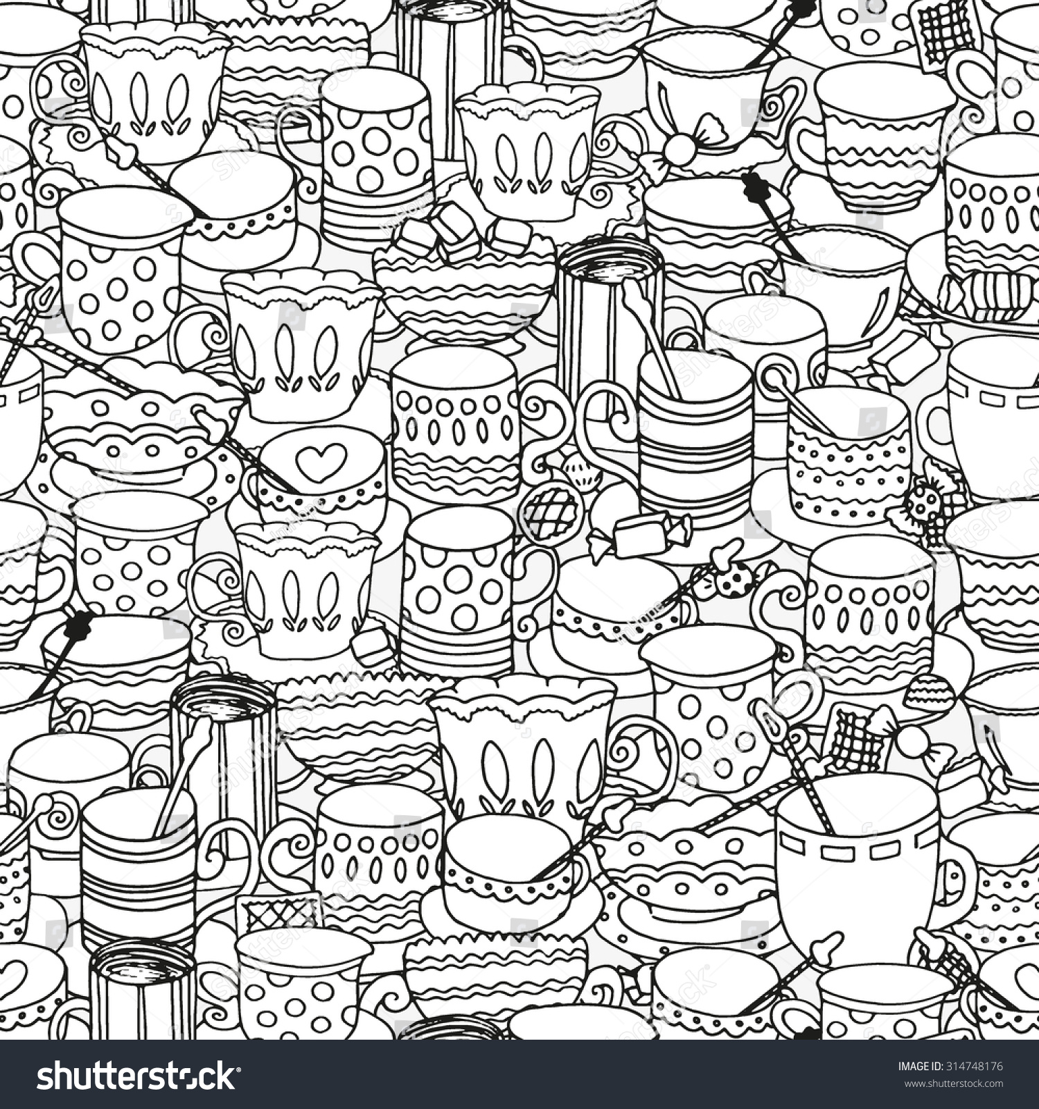 seamless doodle coffee pattern - photo #35