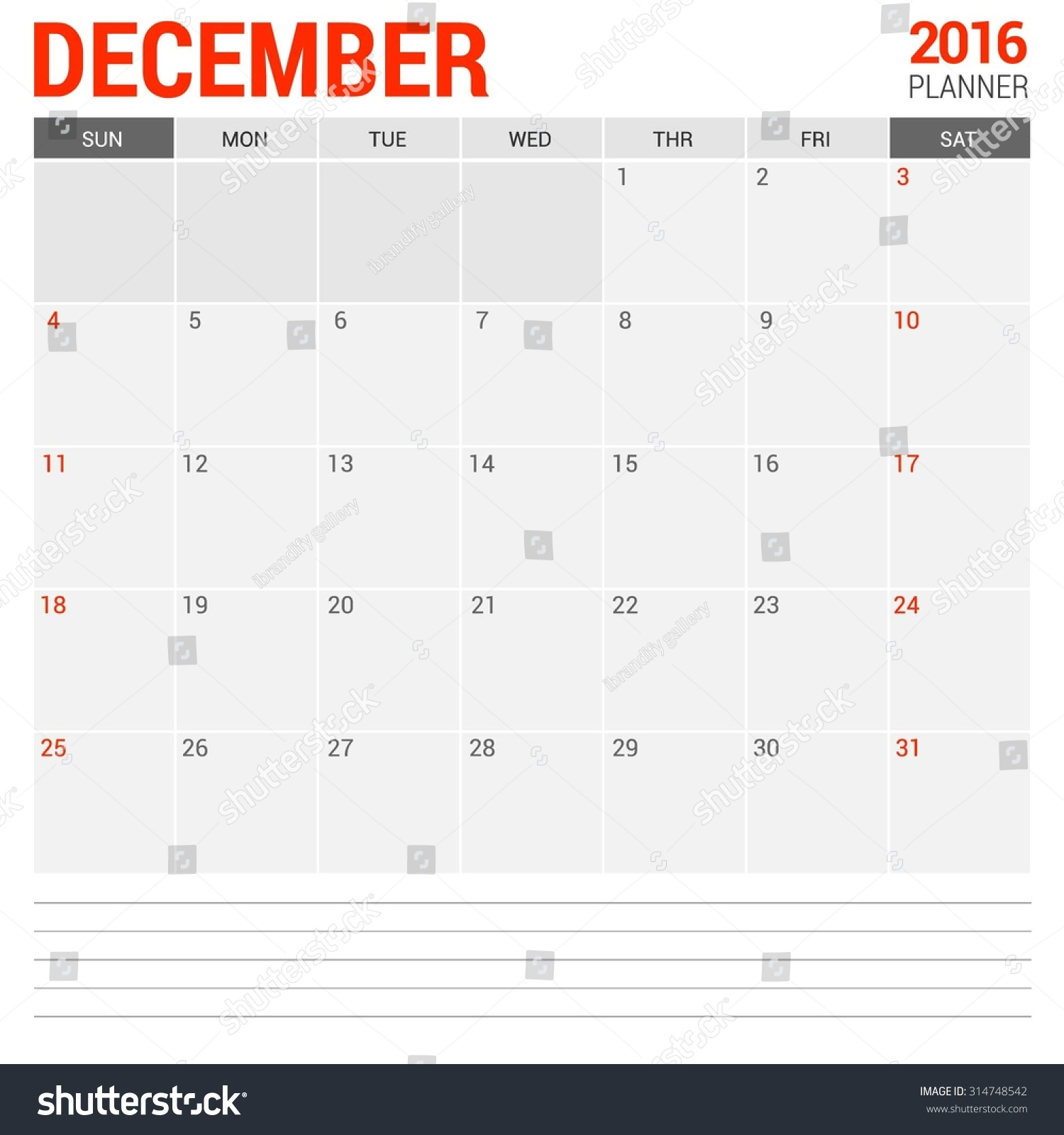 Calendar Planner Vector : December calendar planner vector design stock