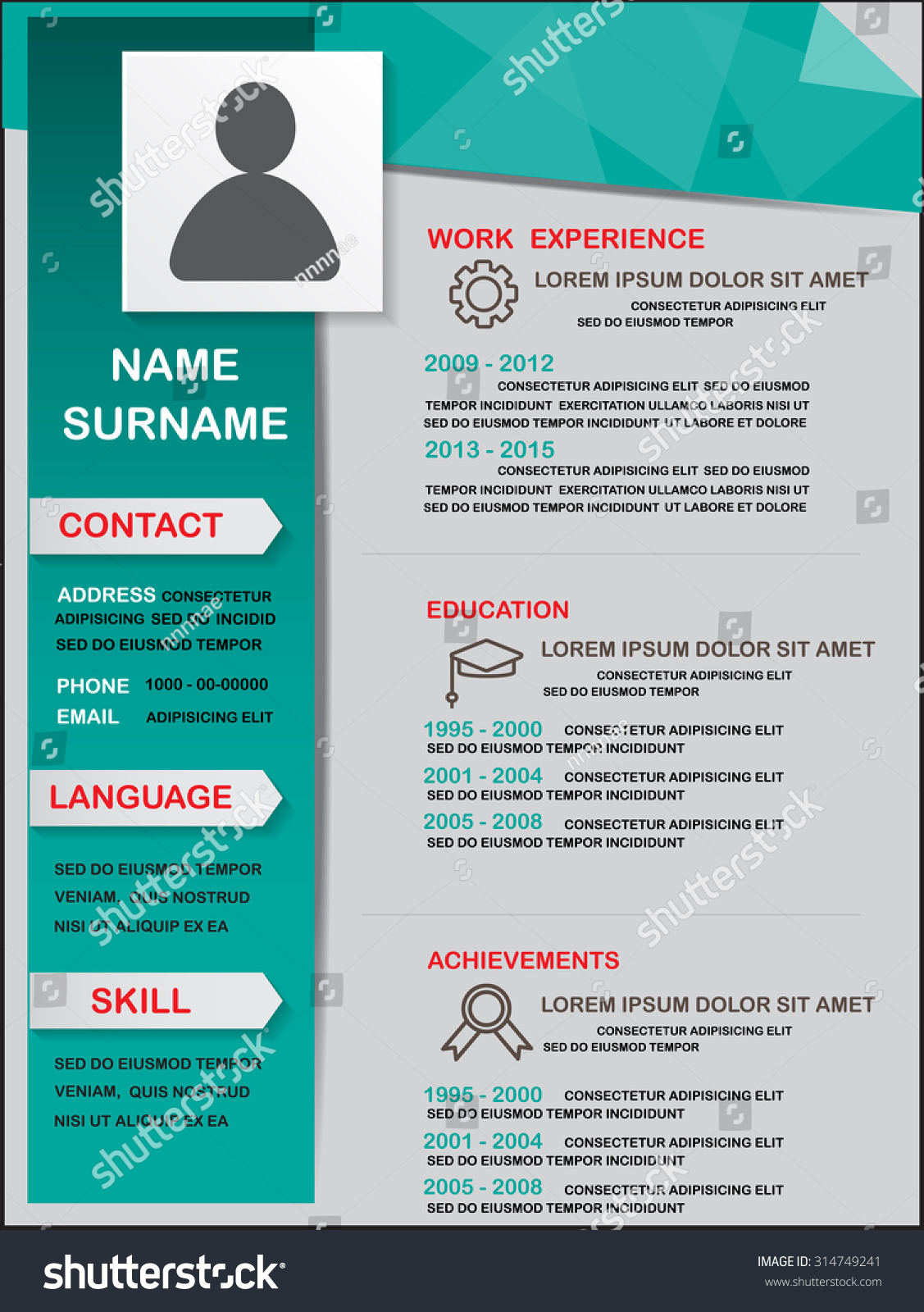 resume cv template infographics background element stock vector 314749241