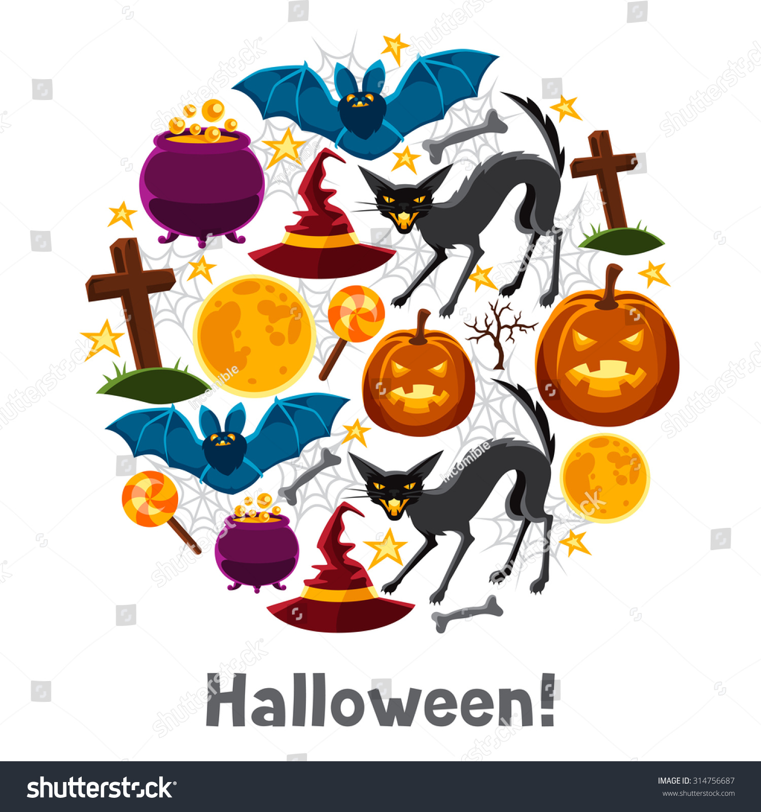 Happy halloween greeting card characters objects stock vector happy halloween greeting card with characters and objects kristyandbryce Gallery