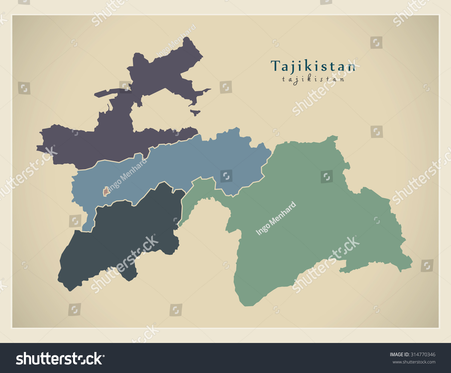 Modern Map Tajikistan Provinces Political Tj Stock Vector - Middle east map dushanbe