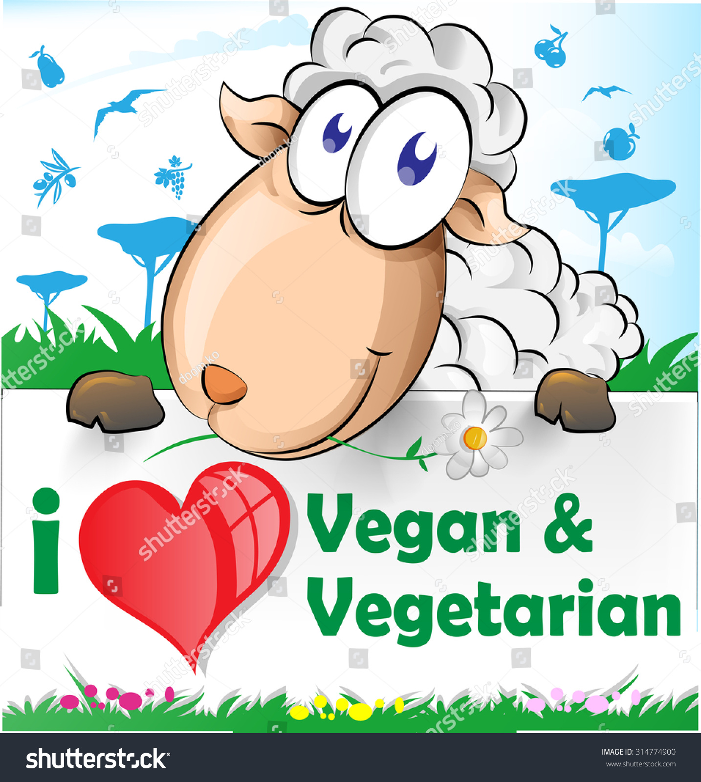Sheep Cartoon Vegetarian Vegan Banner Stock Vector Royalty Free 314774900