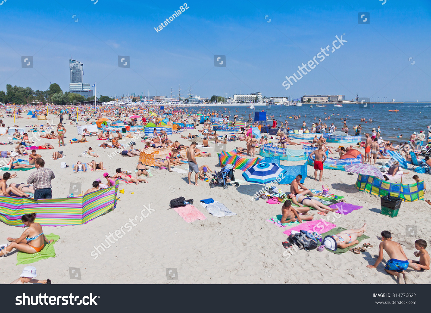 Gdynia Poland  City pictures : GDYNIA, POLAND AUGUST 2, 2015: Crowded Municipal beach in Gdynia ...