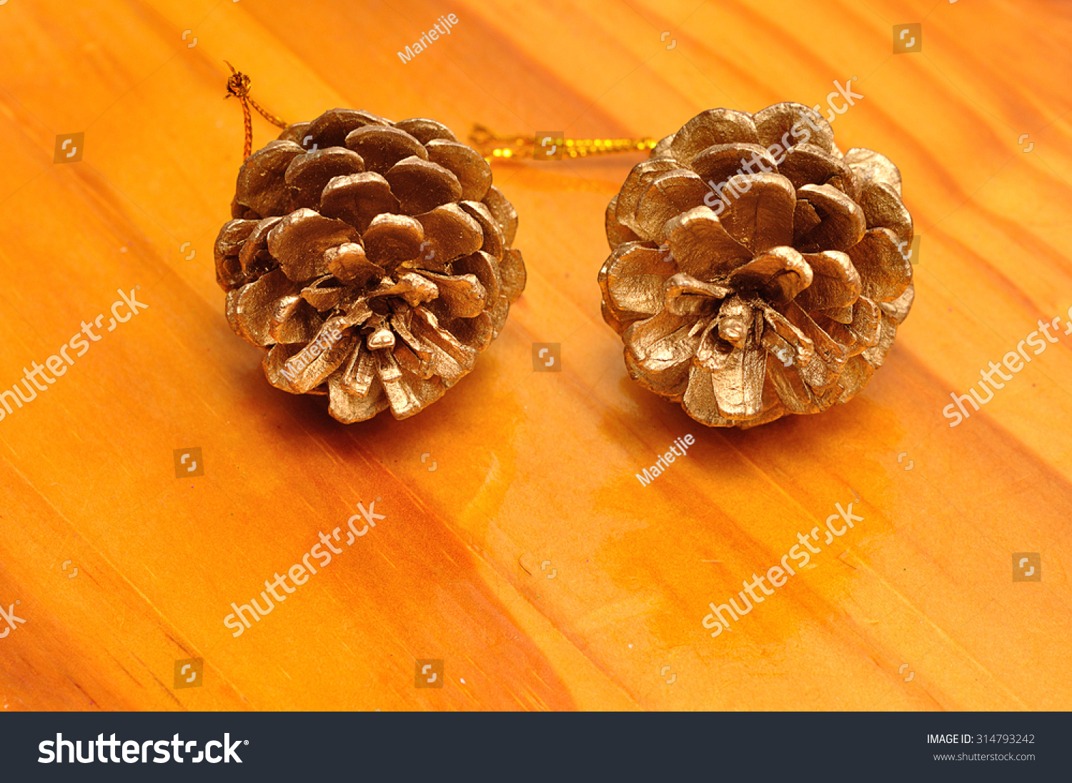 Acorn Christmas Decorations Isolated On Wooden Stock Photo Edit Now