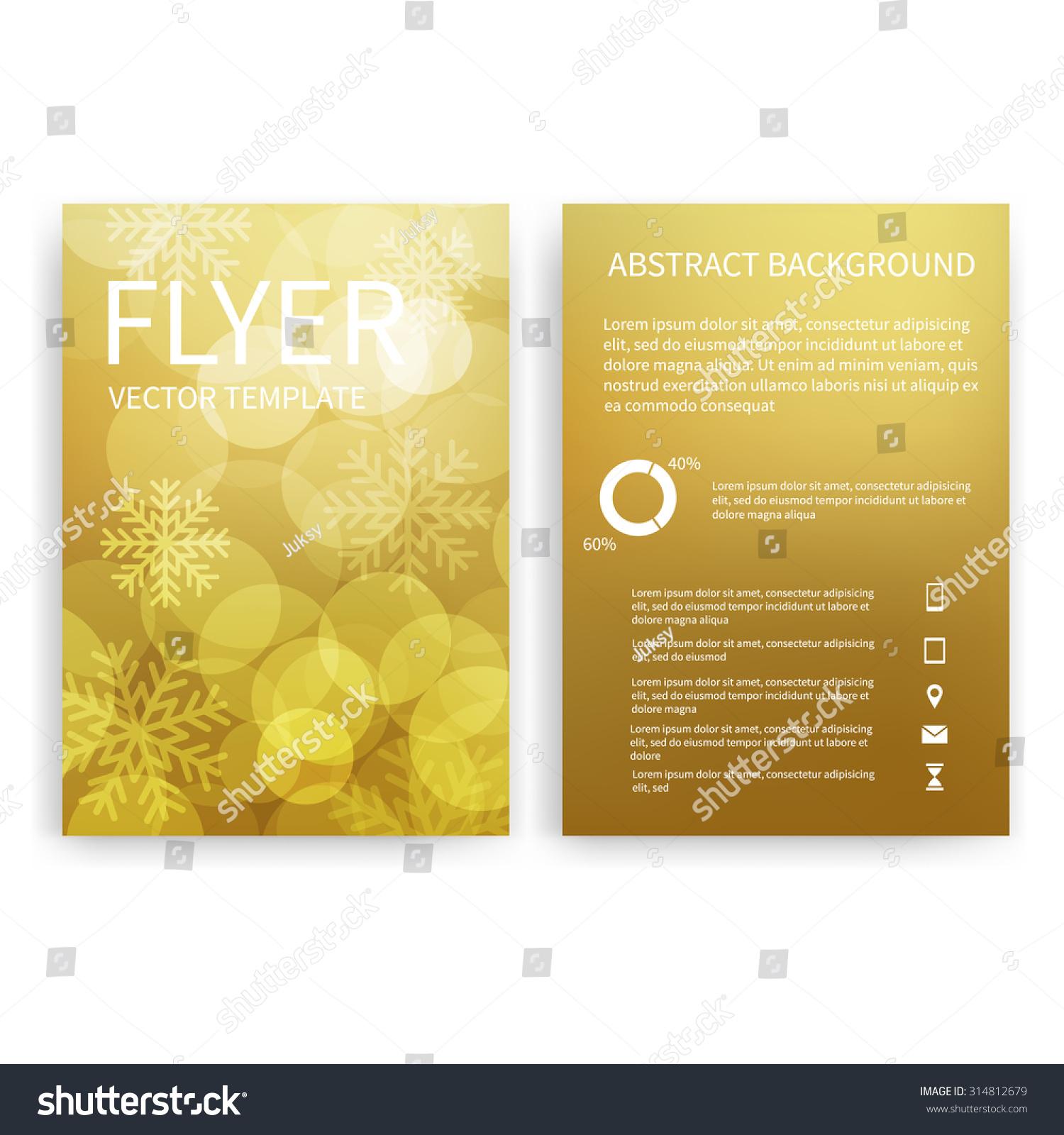 christmas flyer design templates set gold stock vector  christmas flyer design templates set of gold a4 brochure design templates bokeh lights and