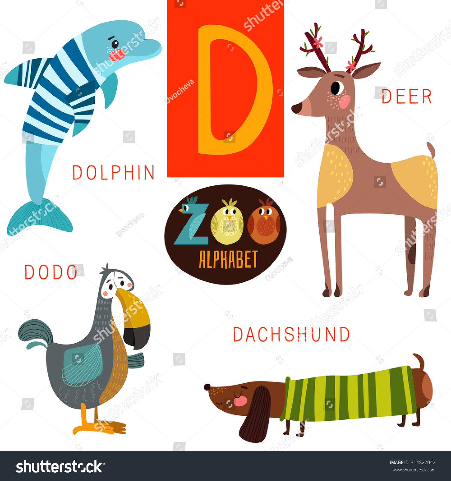 cute zoo alphabet vector d letter funny stock vector royalty free