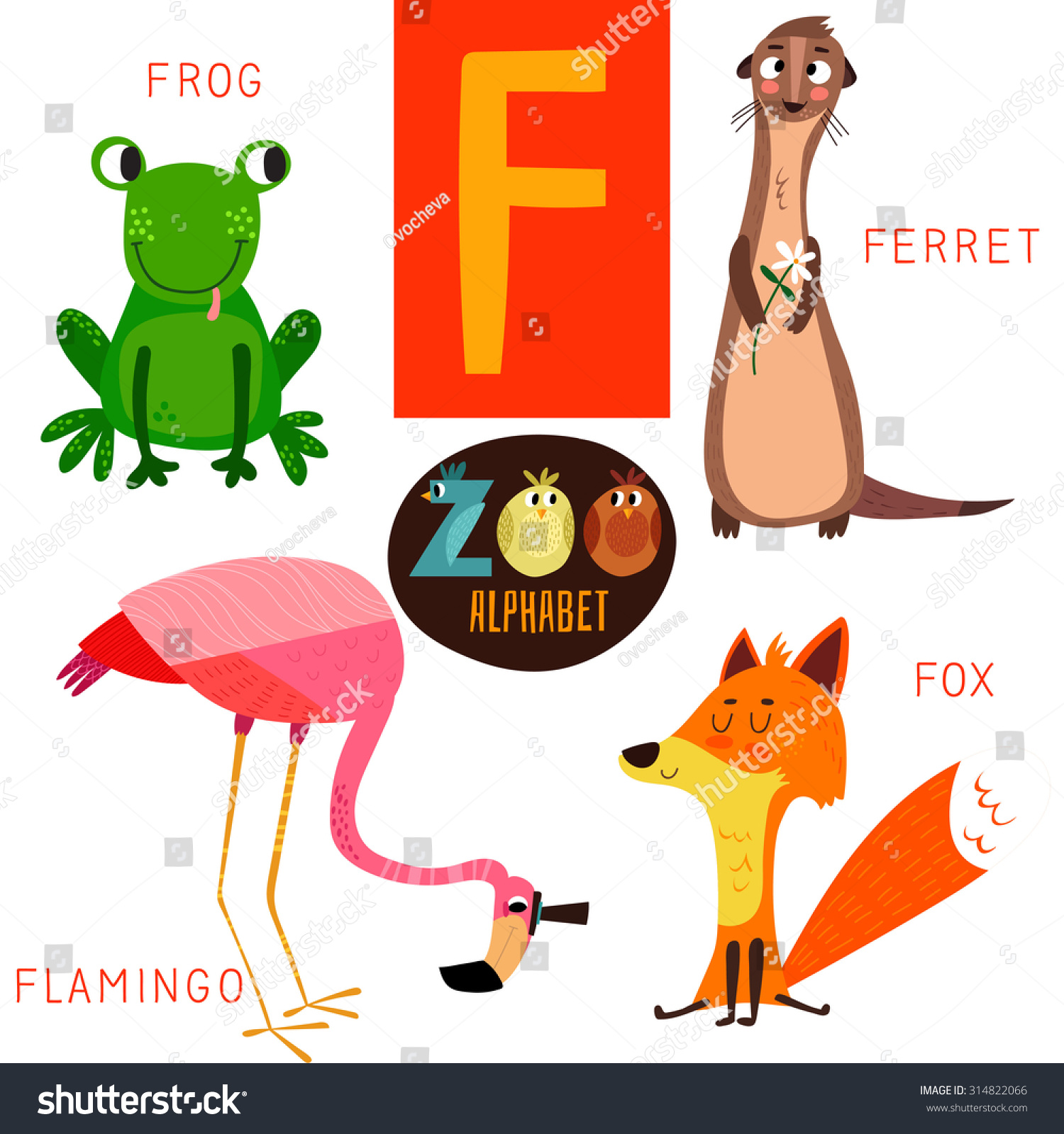 Cute Zoo Alphabet Vectorf Letter Funny Stock Vector