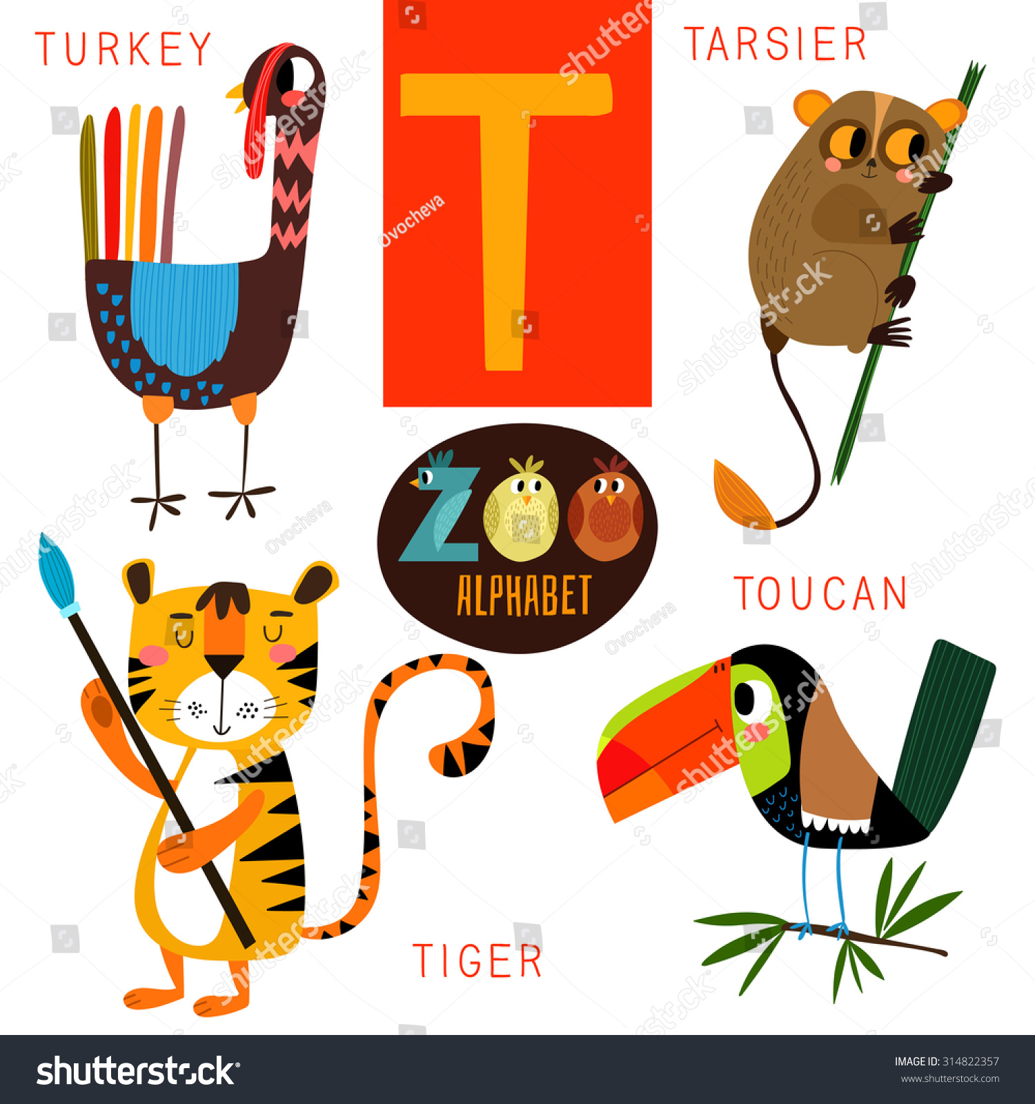 animals that start with t zoo alphabet vectort letter stock vector 13661