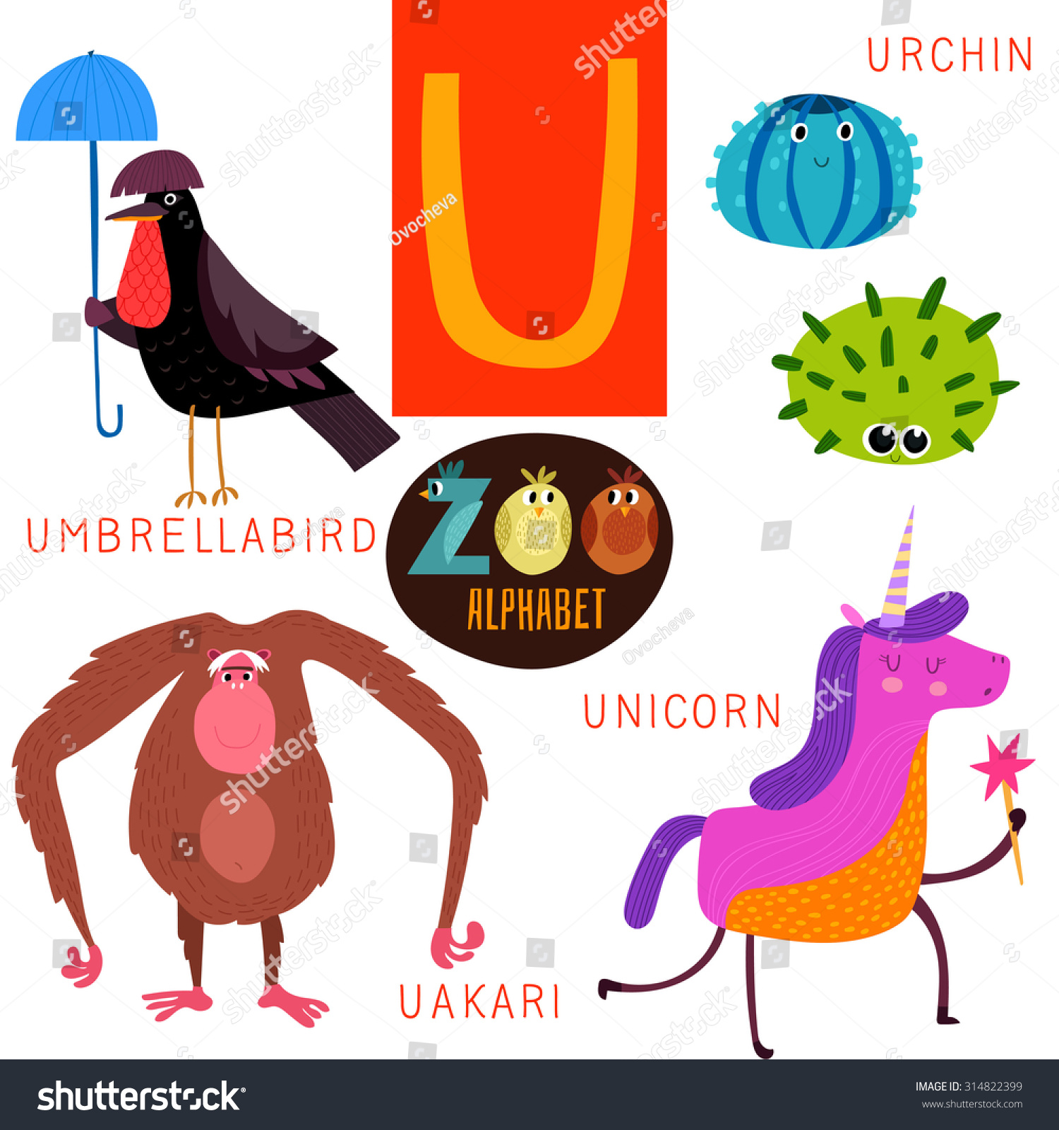 6827c77d Cute zoo alphabet in vector. U letter. Funny cartoon  animals:Umbrellabird,urchin,uakari,unicorn. Alphabet design in a colorful  style. Royalty Free ...