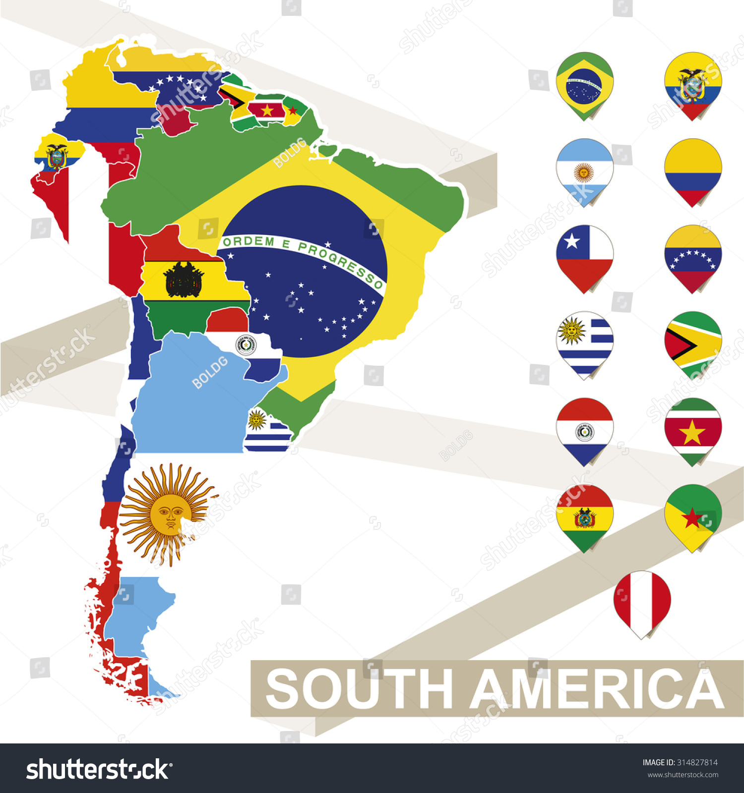 south america map flags south america stock vector