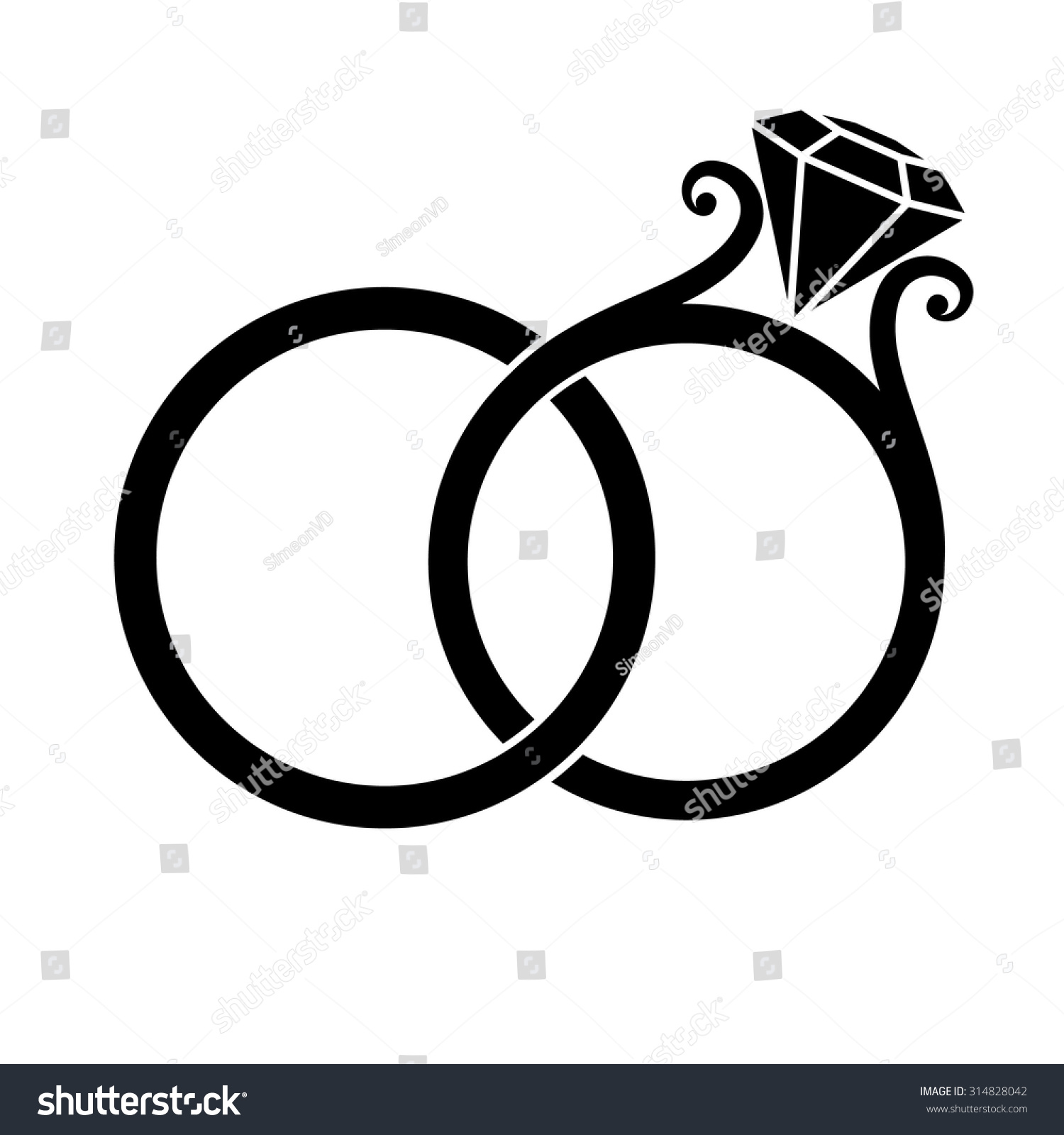 Wedding Rings With Diamond Black Silhouette On A White Background Stock Vector 314828042 ...