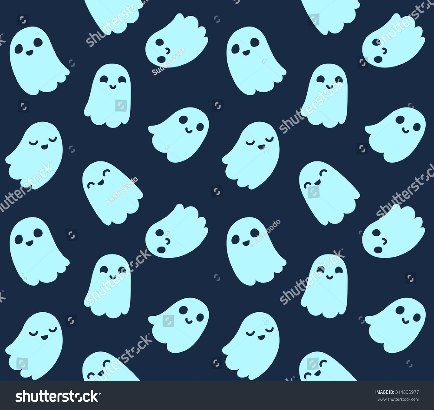 Halloween Background Seamless Pattern Cute Cartoon Stock Vector ...