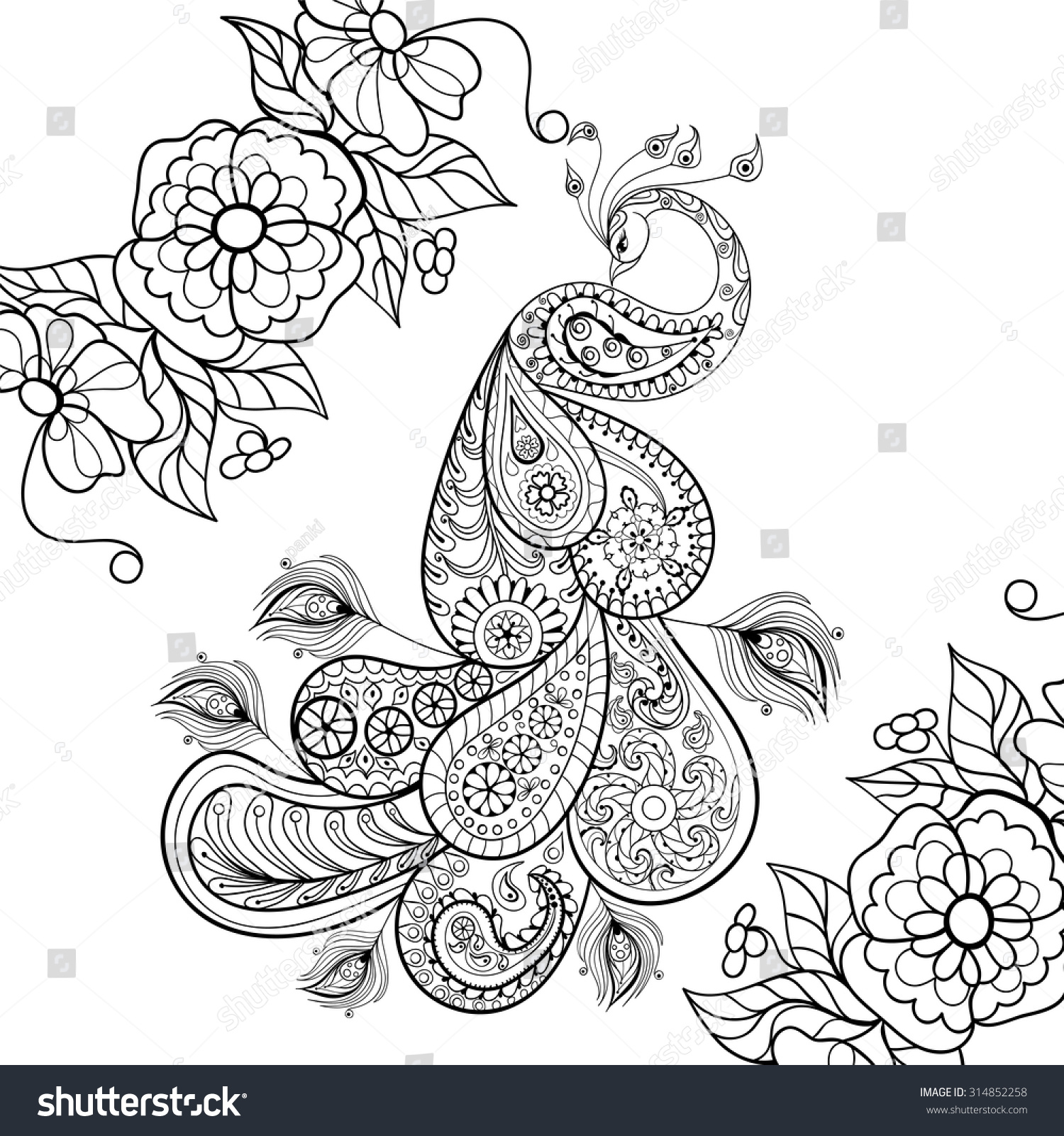 Anti stress coloring therapy - Zentangle Peacock Totem In Flowersfor Adult Anti Stress Coloring Page For Art Therapy Illustration In