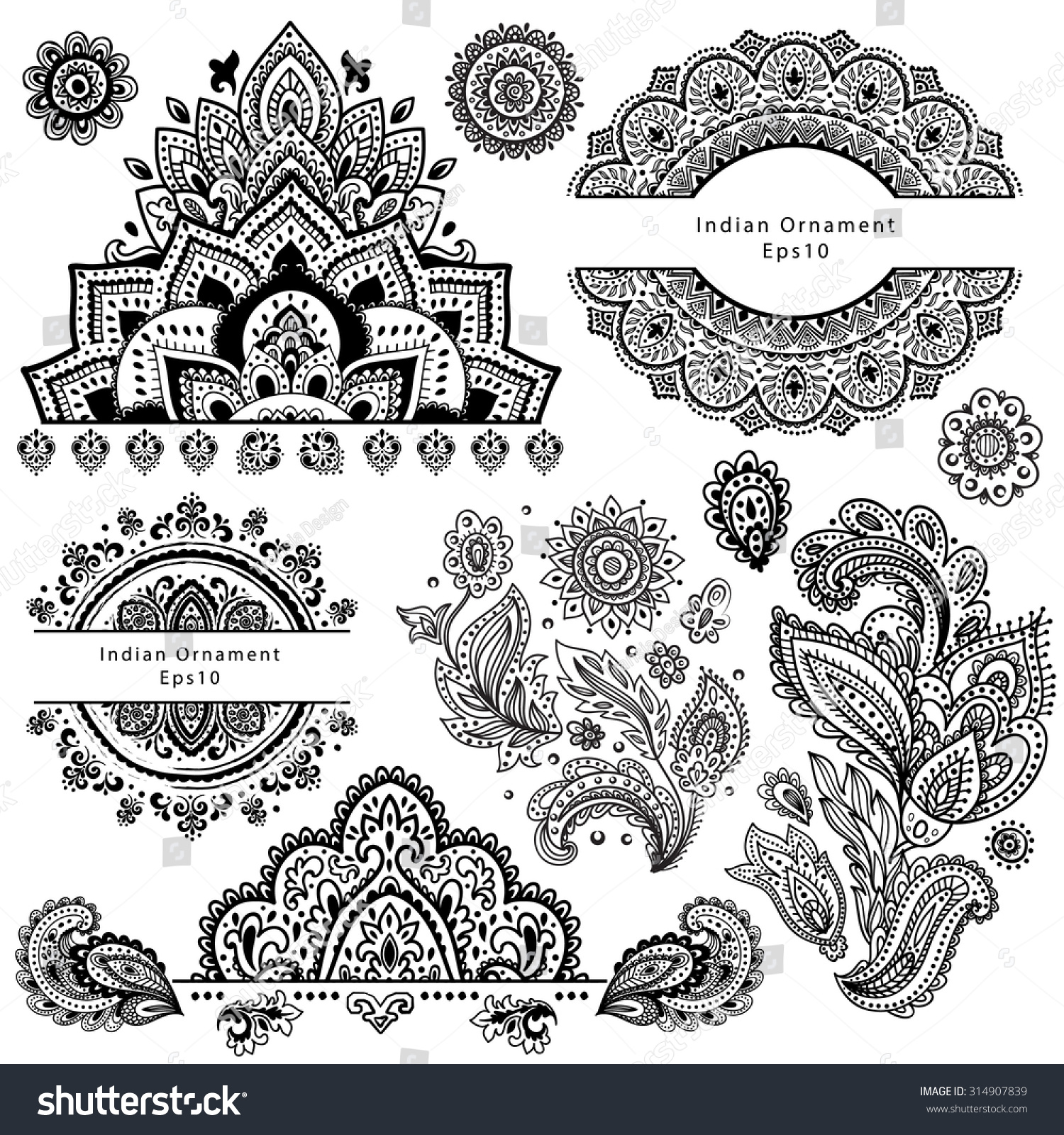 Set Ornamental Indian Elements Symbols Stock Vector Hd Royalty Free