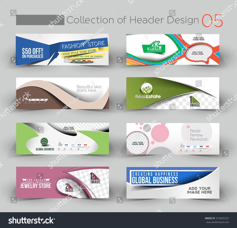 mega collection modern horizontal banner header stock vector