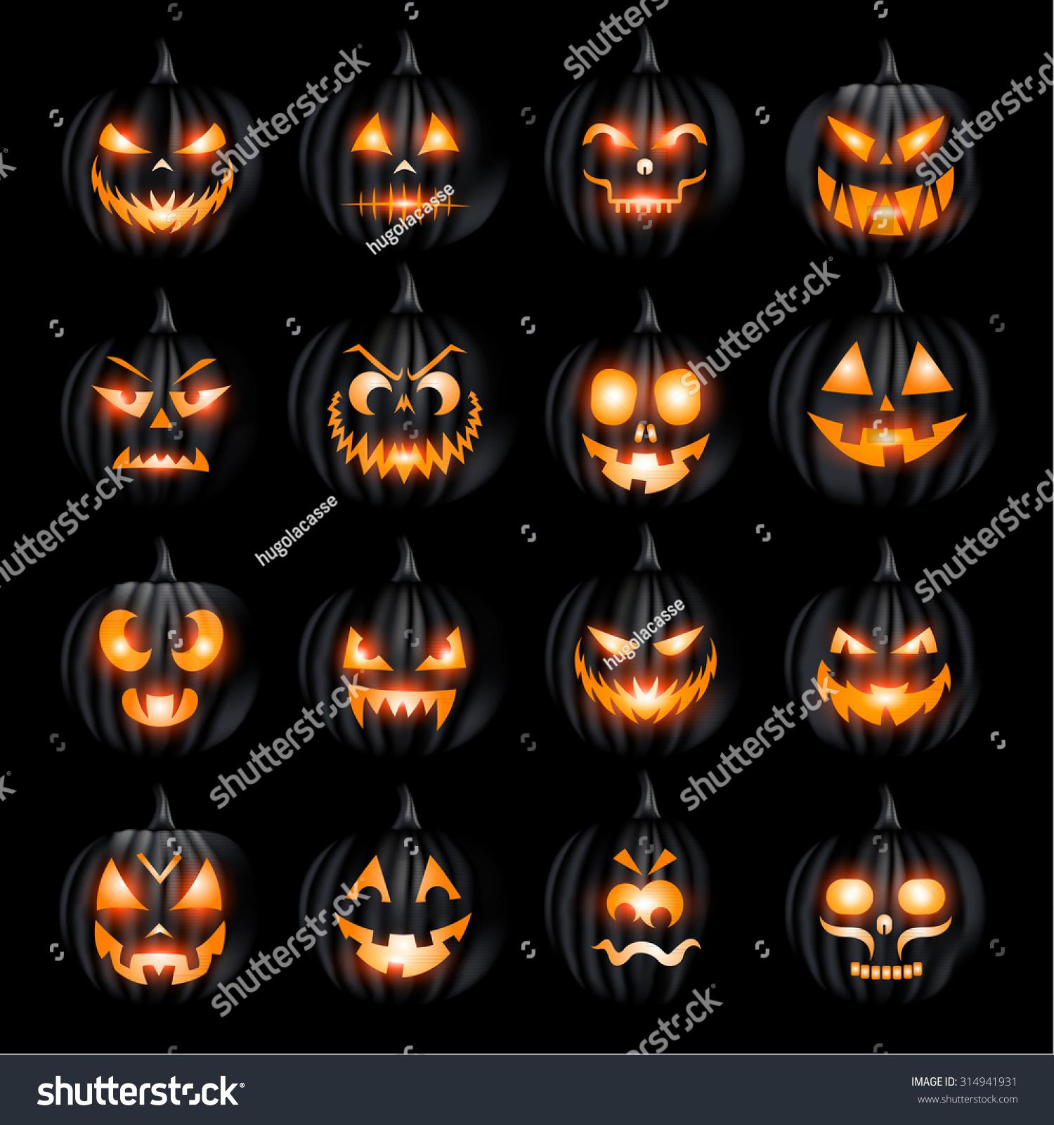 creepy halloween jack o lantern pumkin stock vector 314941931