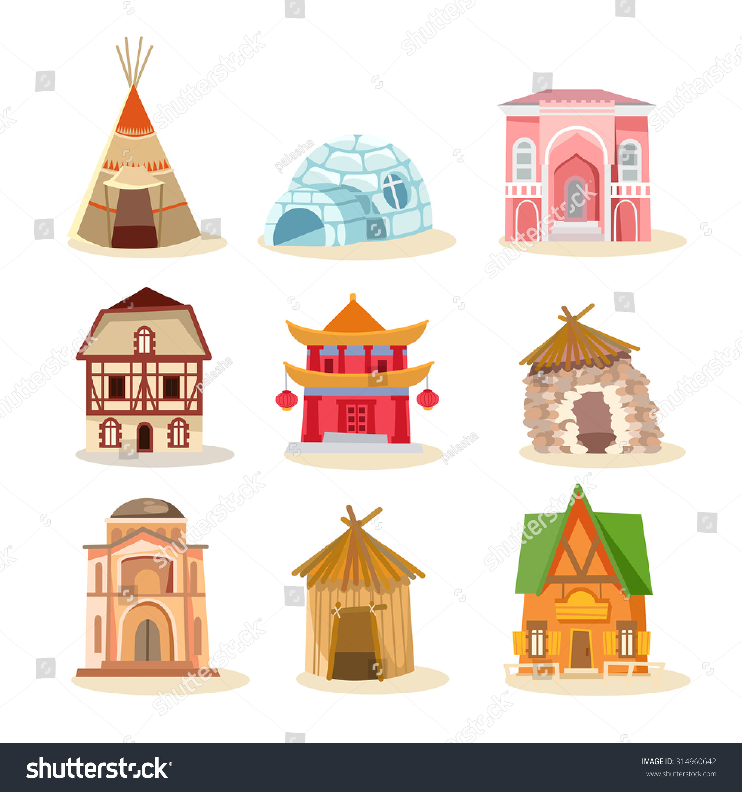 Big set traditional houses around world stock vector for All types of houses pictures