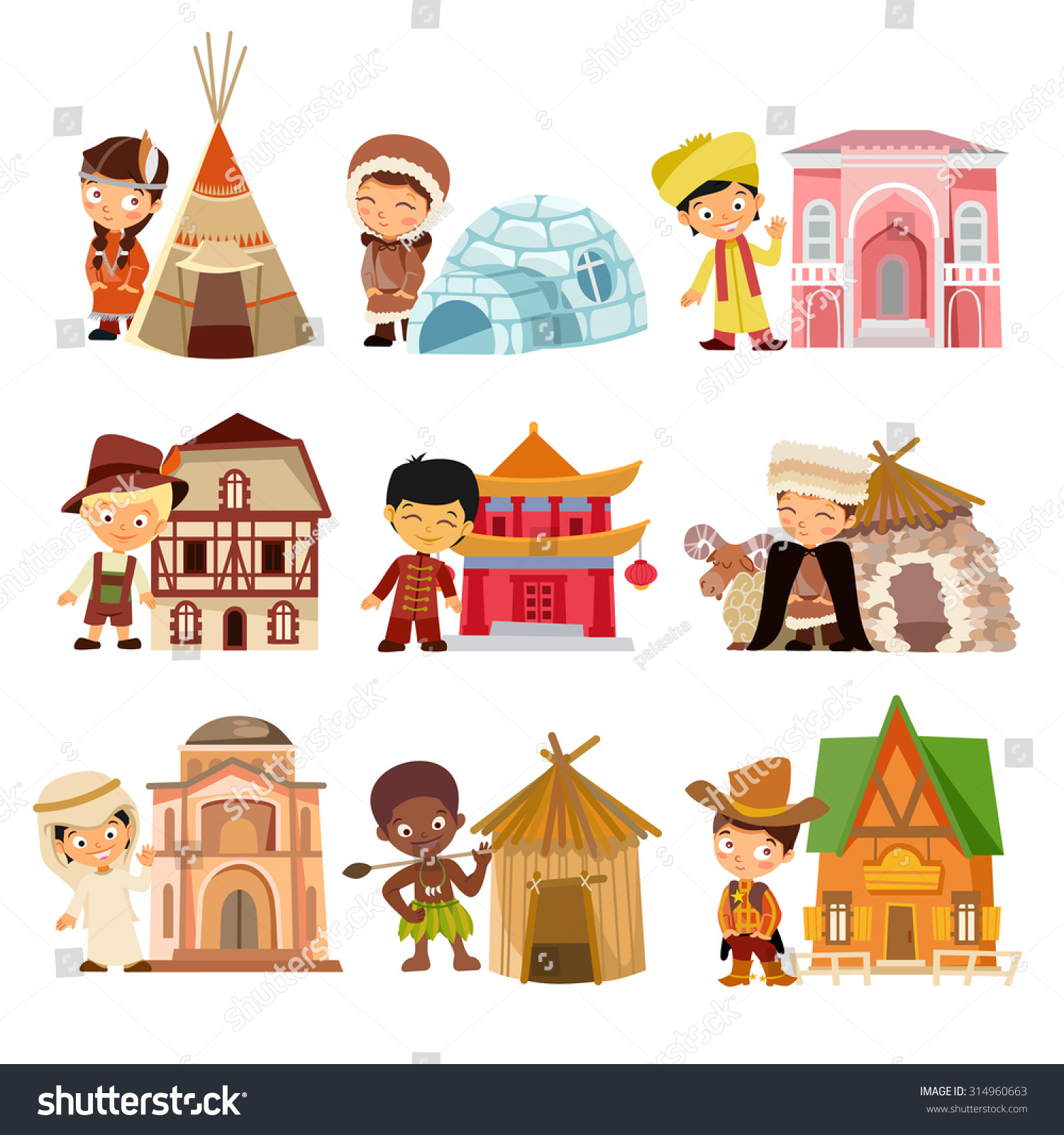 Cartoon Characters Houses : People various nationalities their traditional houses